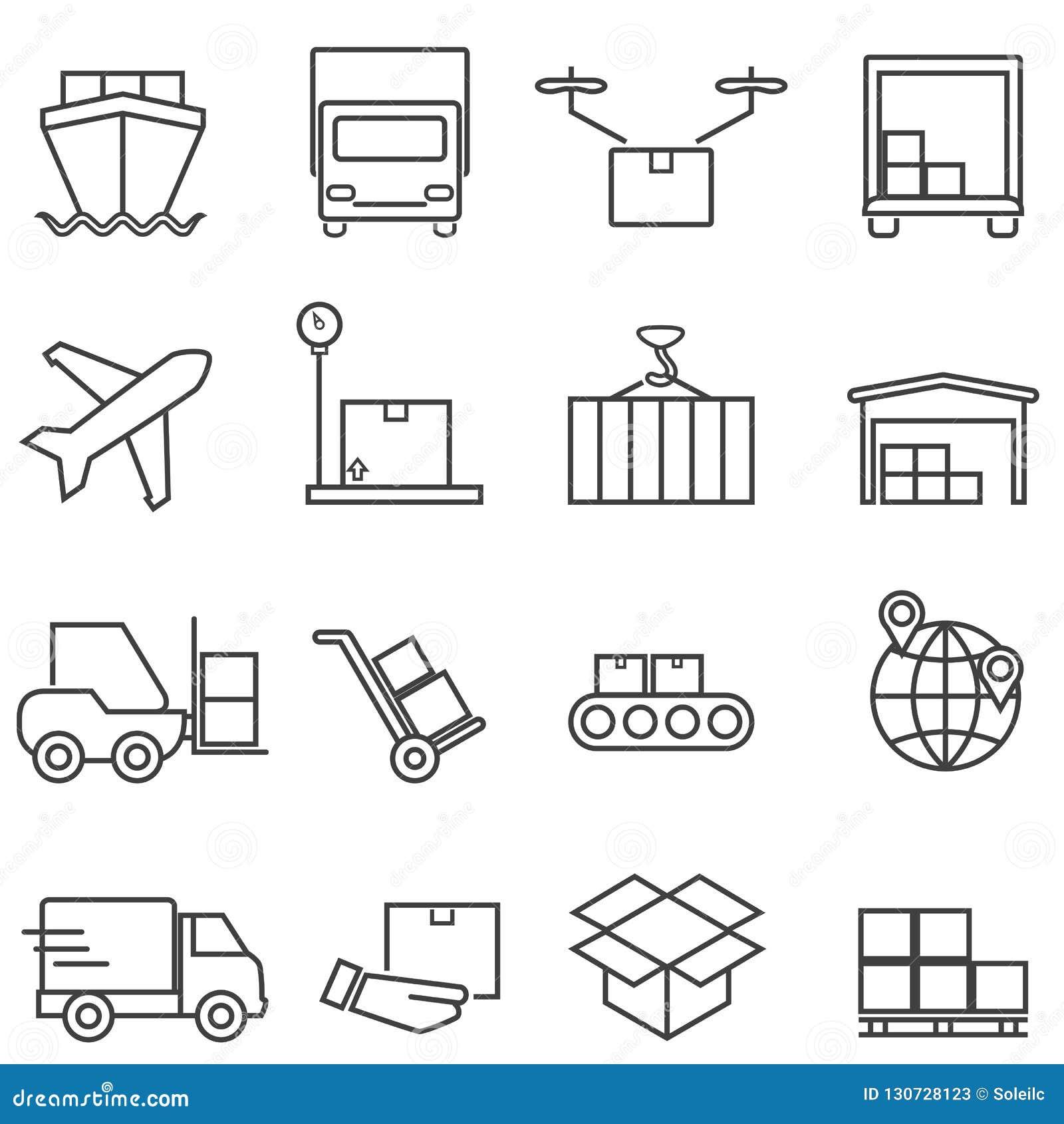 Logística, carga e linha de transporte ícones