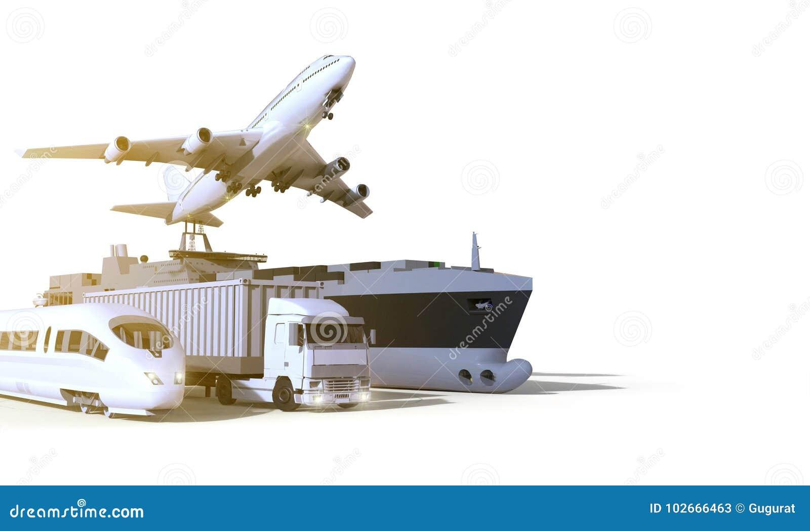 Logística e transporte, caminhão, trem de alta velocidade, barco e plano no fundo do isolado