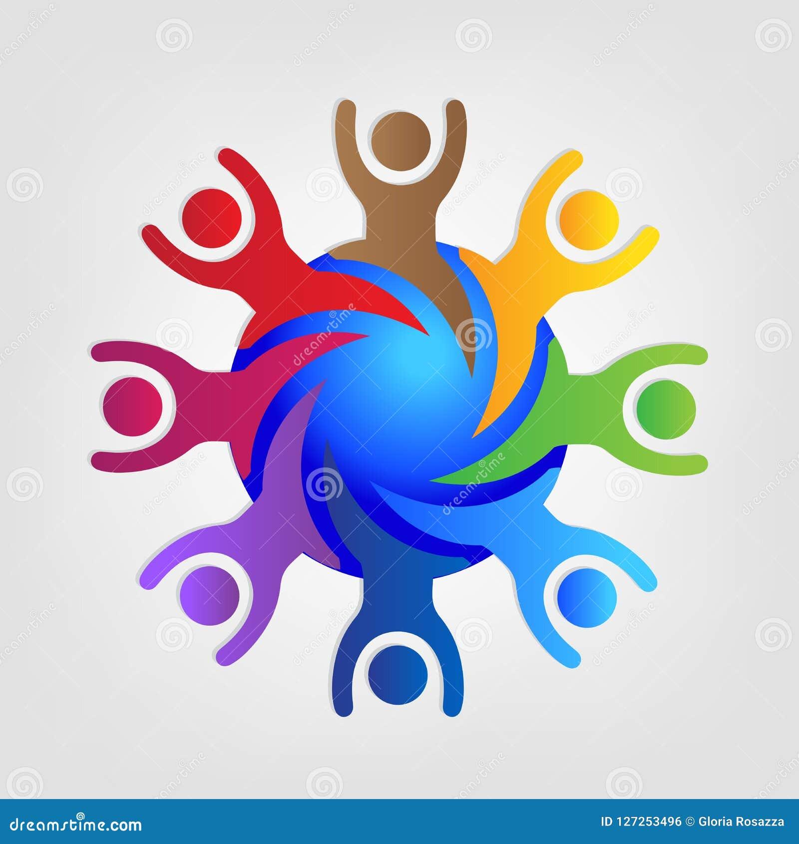 Logów szczęśliwi i pomyślni prac zespołowych ludzie wokoło światu id gręplują wektor