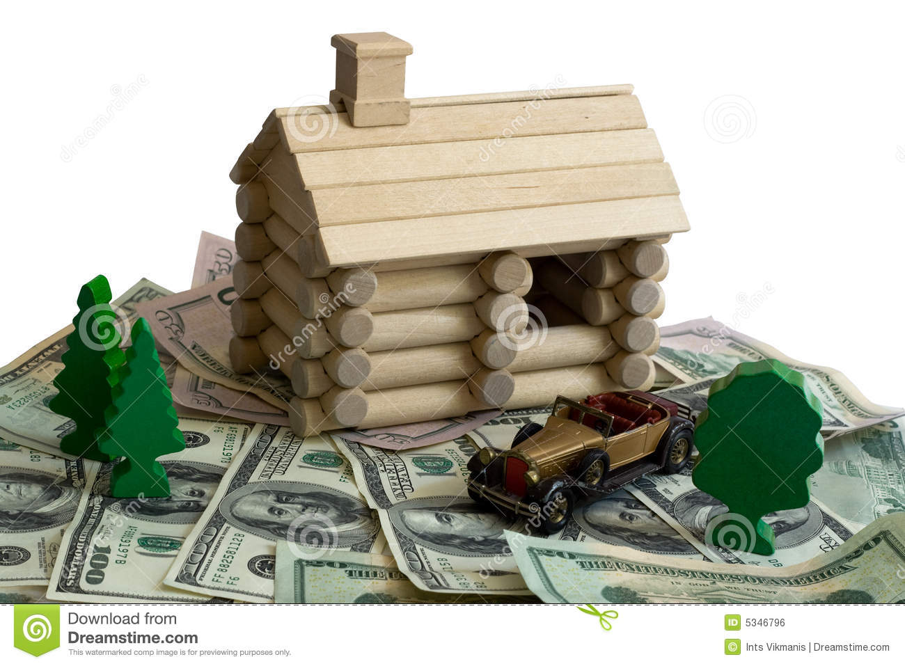Log Building Model And Money Royalty Free Stock Image