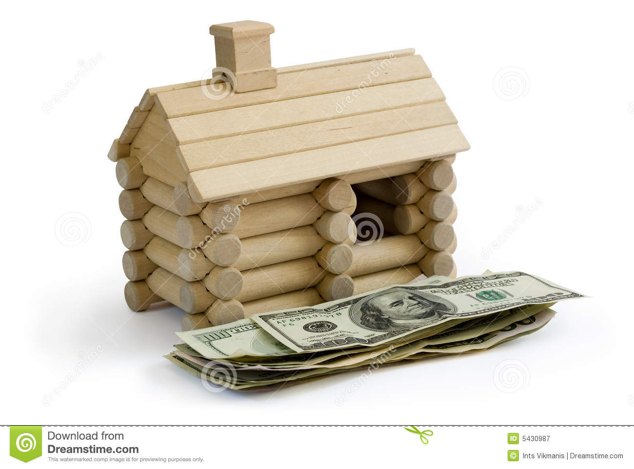 Log building model and money royalty free stock for Free money to build a house