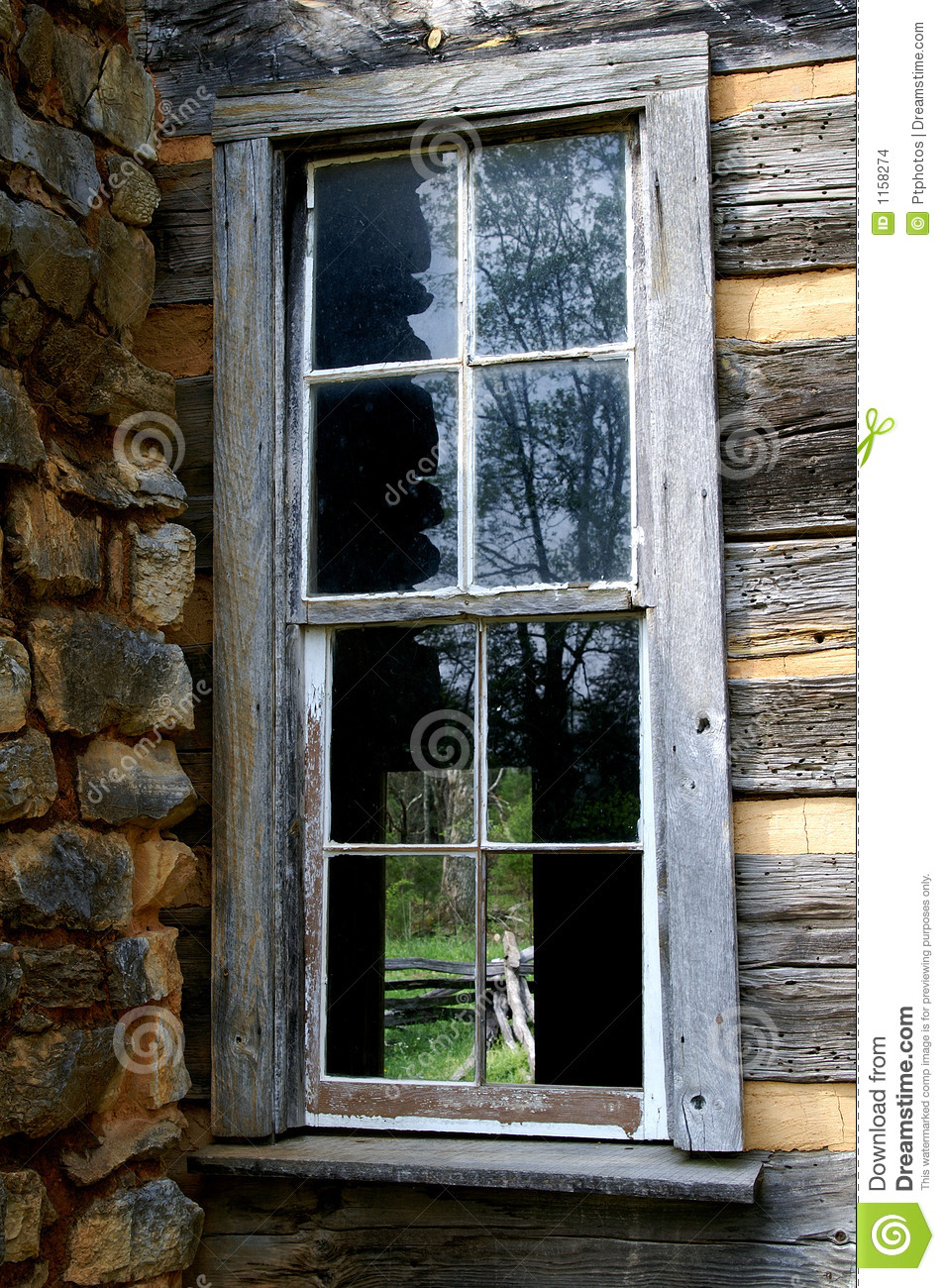 Log cabin broken window detail stock photo image 1158274 for Windows for log cabins