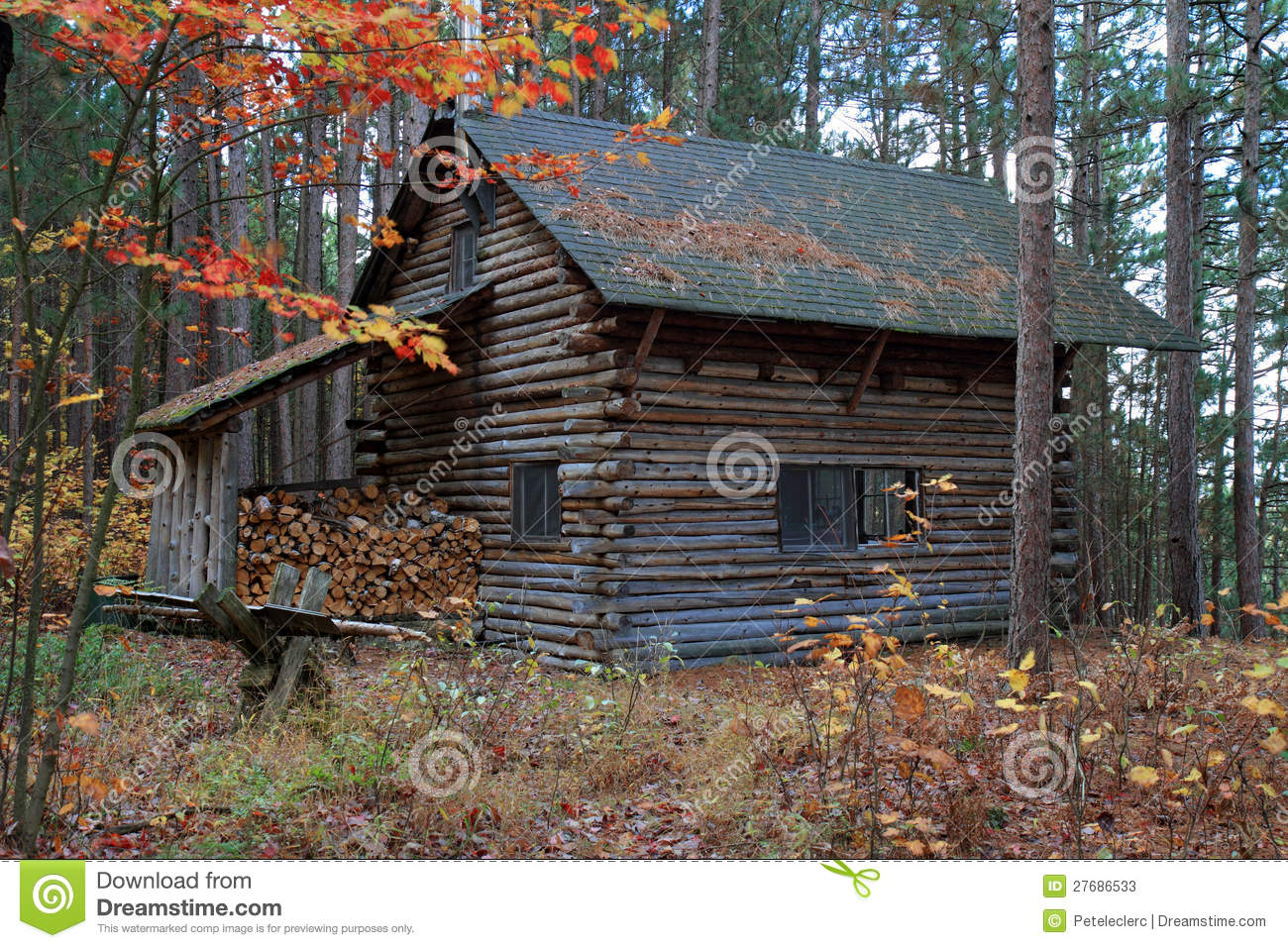 Log Cabin In The Eastern Townships Quebec Stock Photos