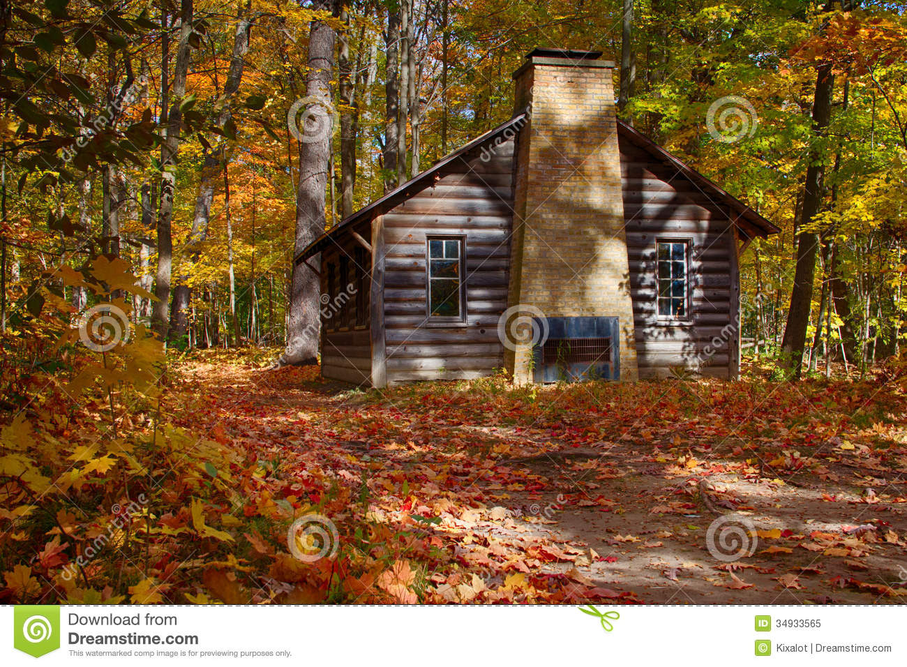 Log Cabin In Fall Woods Stock Image Image Of Colorful