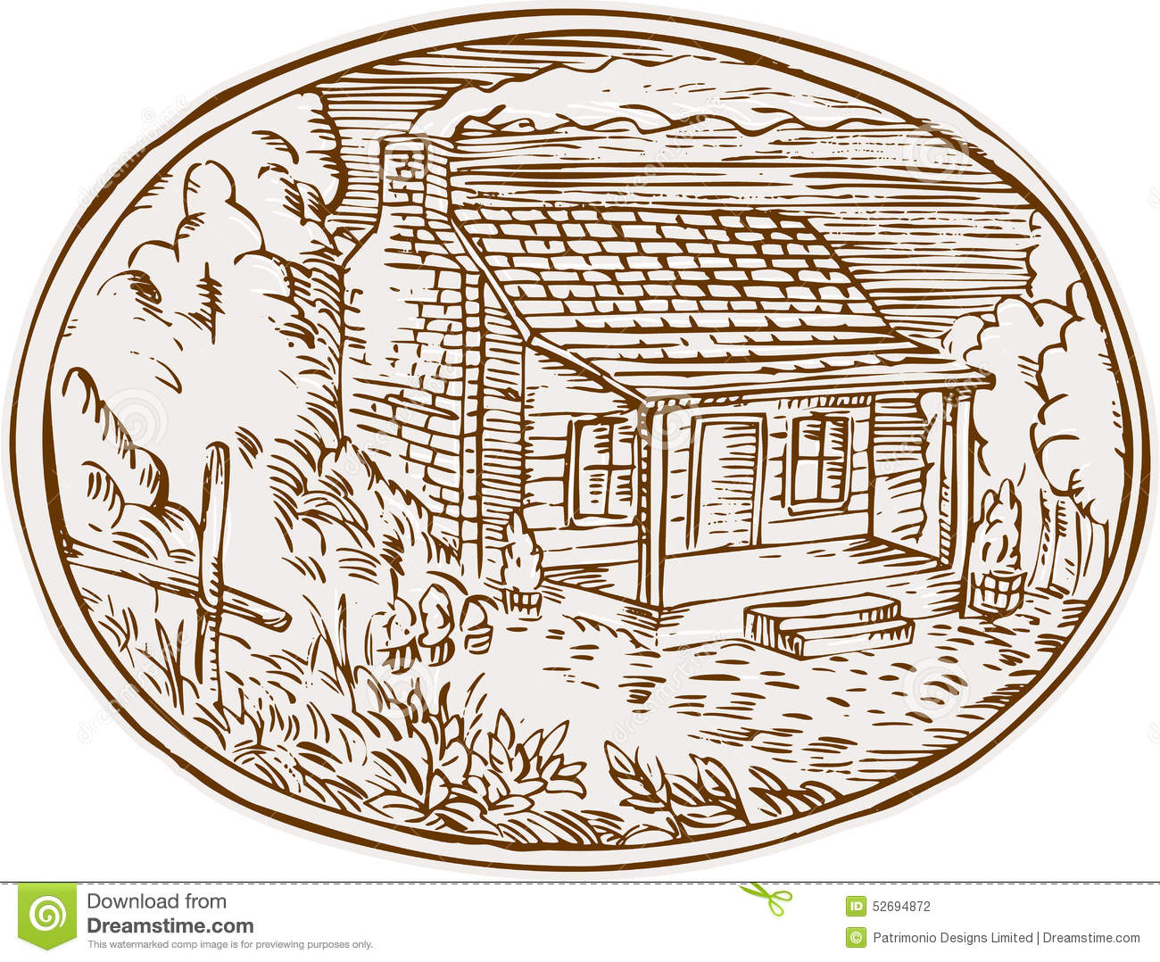 Log Cabin Farm House Oval Etching Stock Vector Image