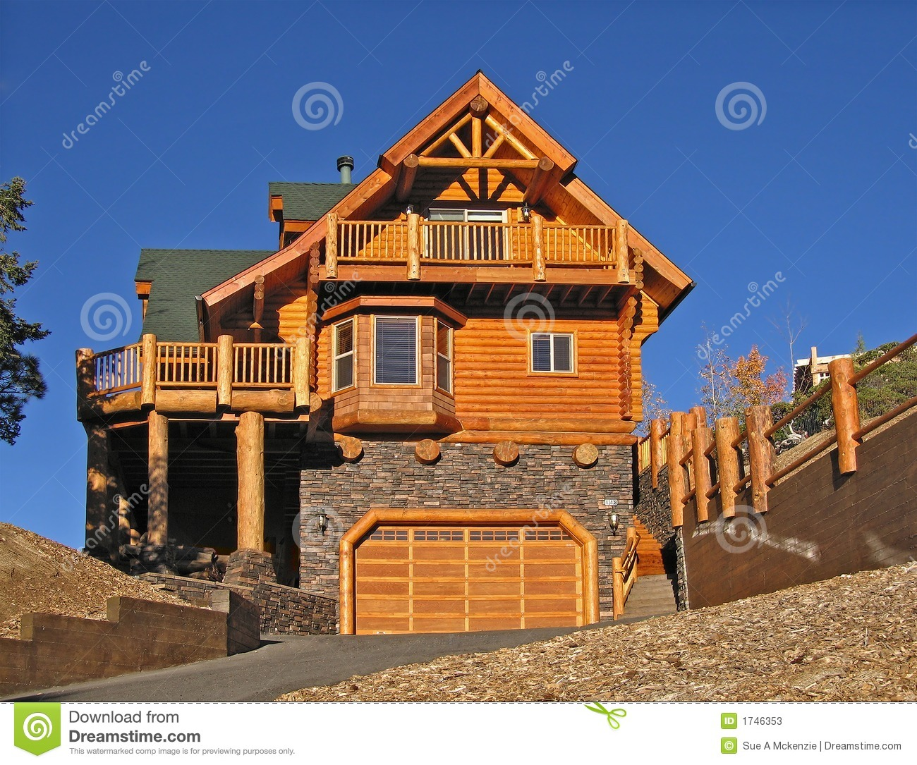 Log Cabin Photo Gallery ~ Log cabin home exterior with warm fireplace perfect