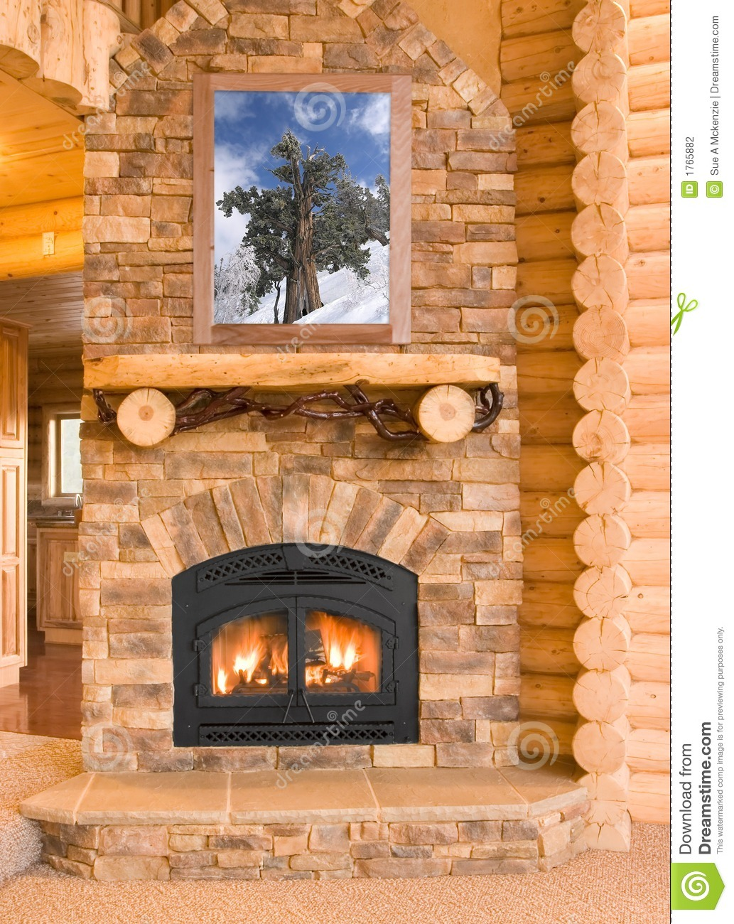 Log cabin home interior with warm fireplace with wood for Log home fireplaces