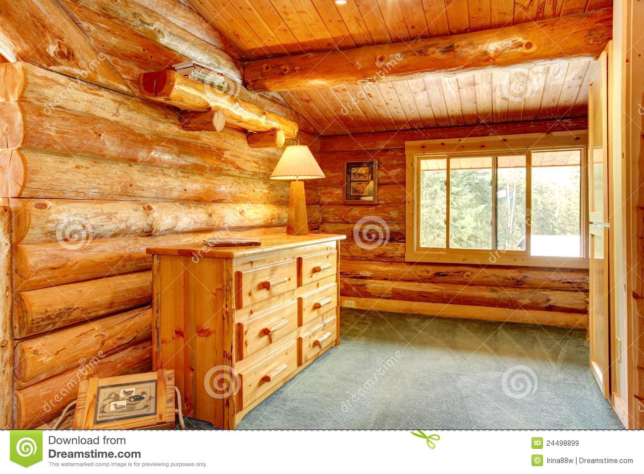 log cabin house interior royalty free stock images