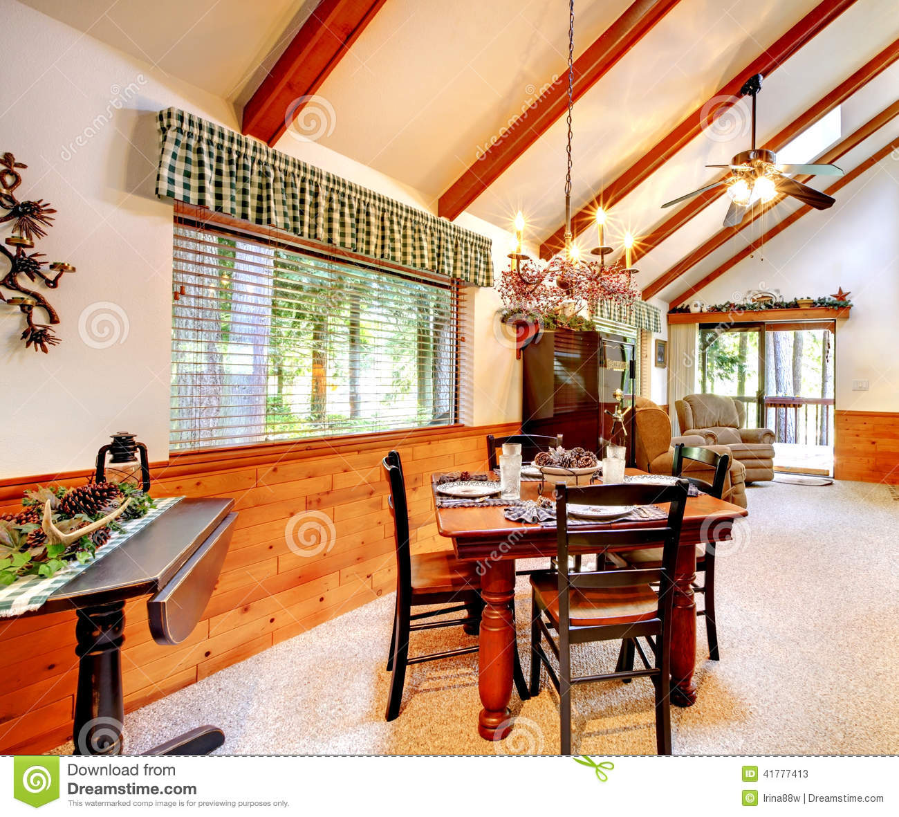 Log Cabin House Interior Stock Image. Image Of Inside