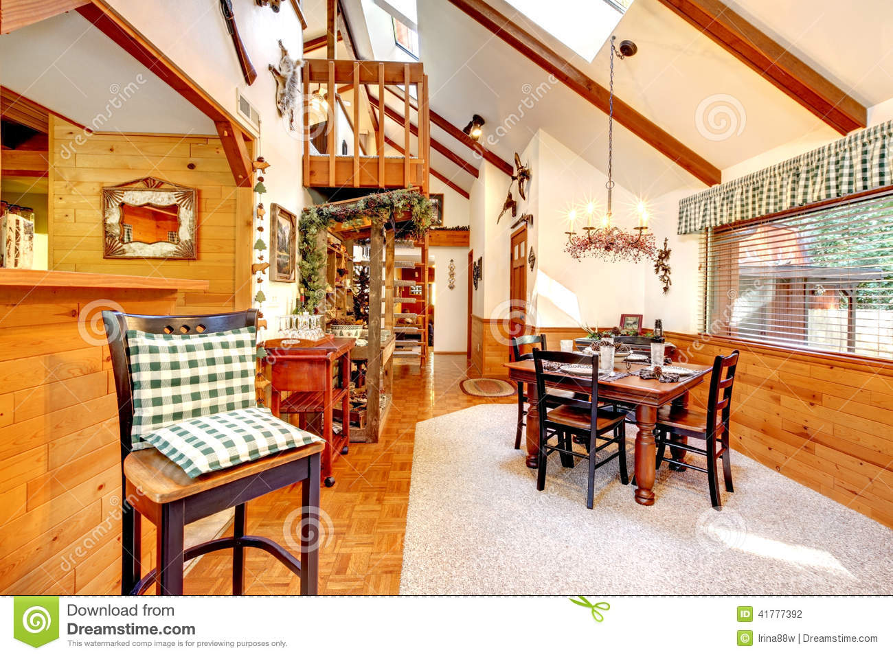 Furniture Bright High Vaulted Ceiling Kitchen Room With: Log Cabin House Interior Stock Photo
