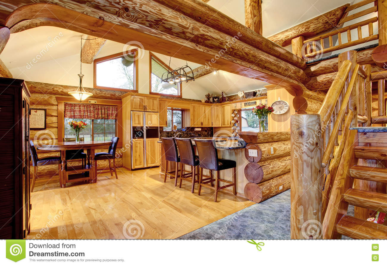 Log Cabin House Interior Of Dining And Kitchen Room Stock