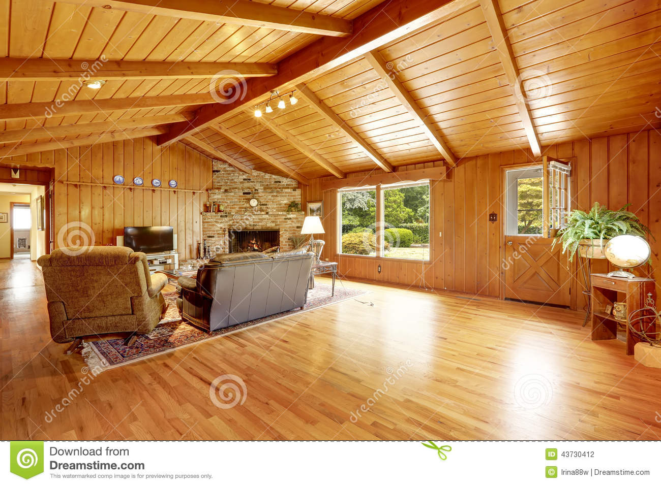 Log Cabin House Interior Living Room With Fireplace And