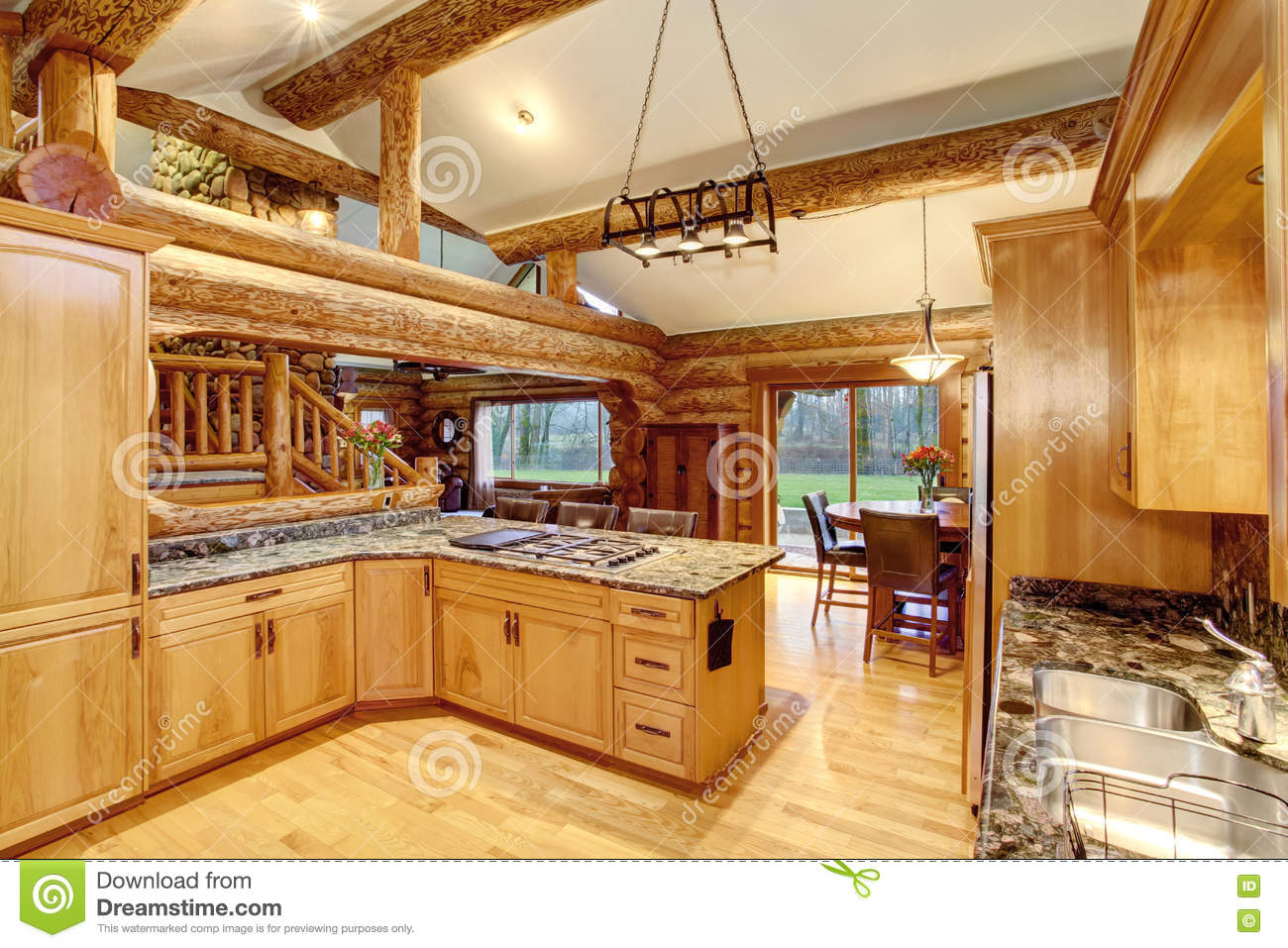 Log Cabin Kitchen Interior Design With Honey Color Cabinets ...