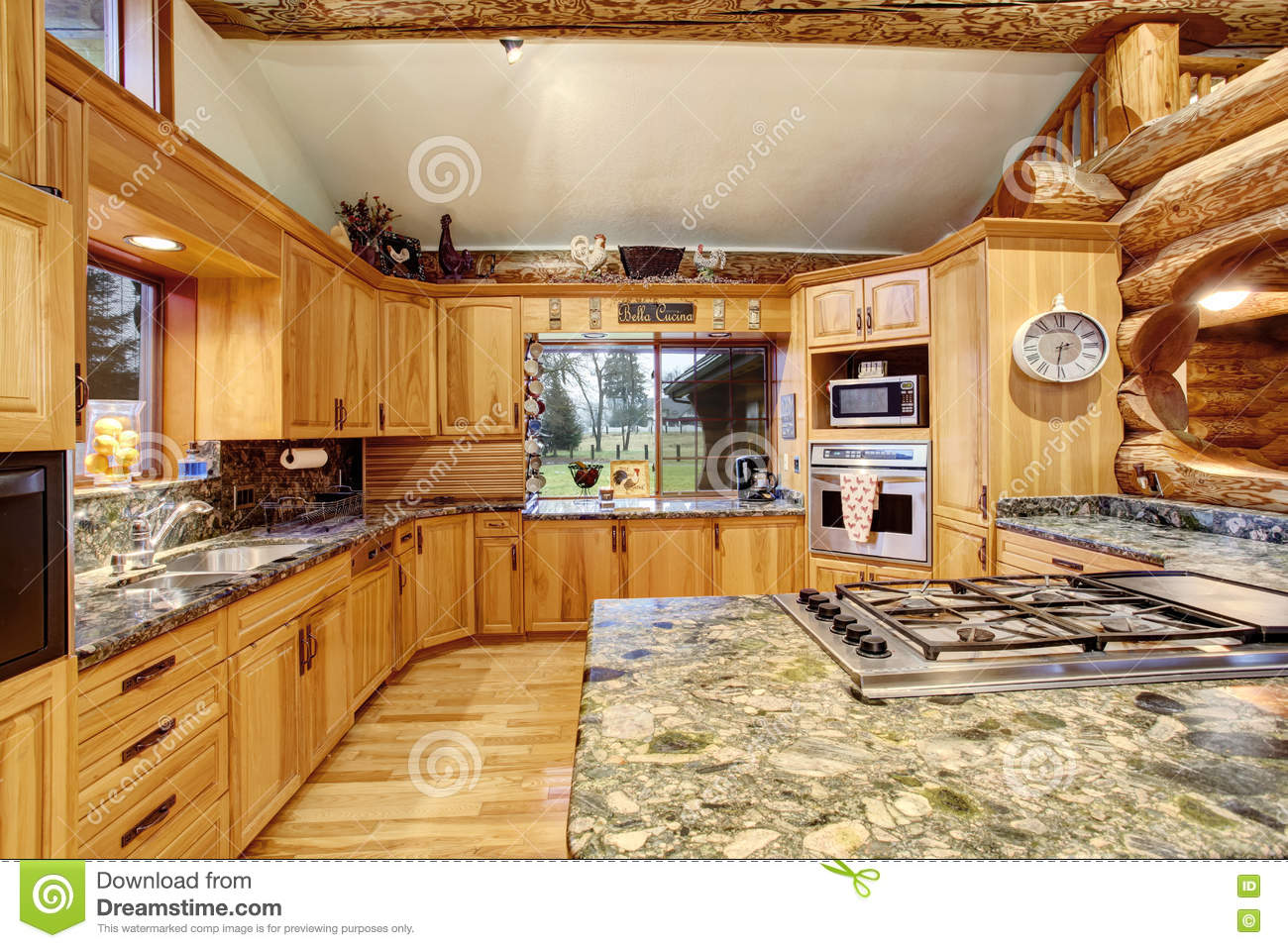 Fascinating 30 large kitchen interior design decoration for Kitchen ideas for log homes