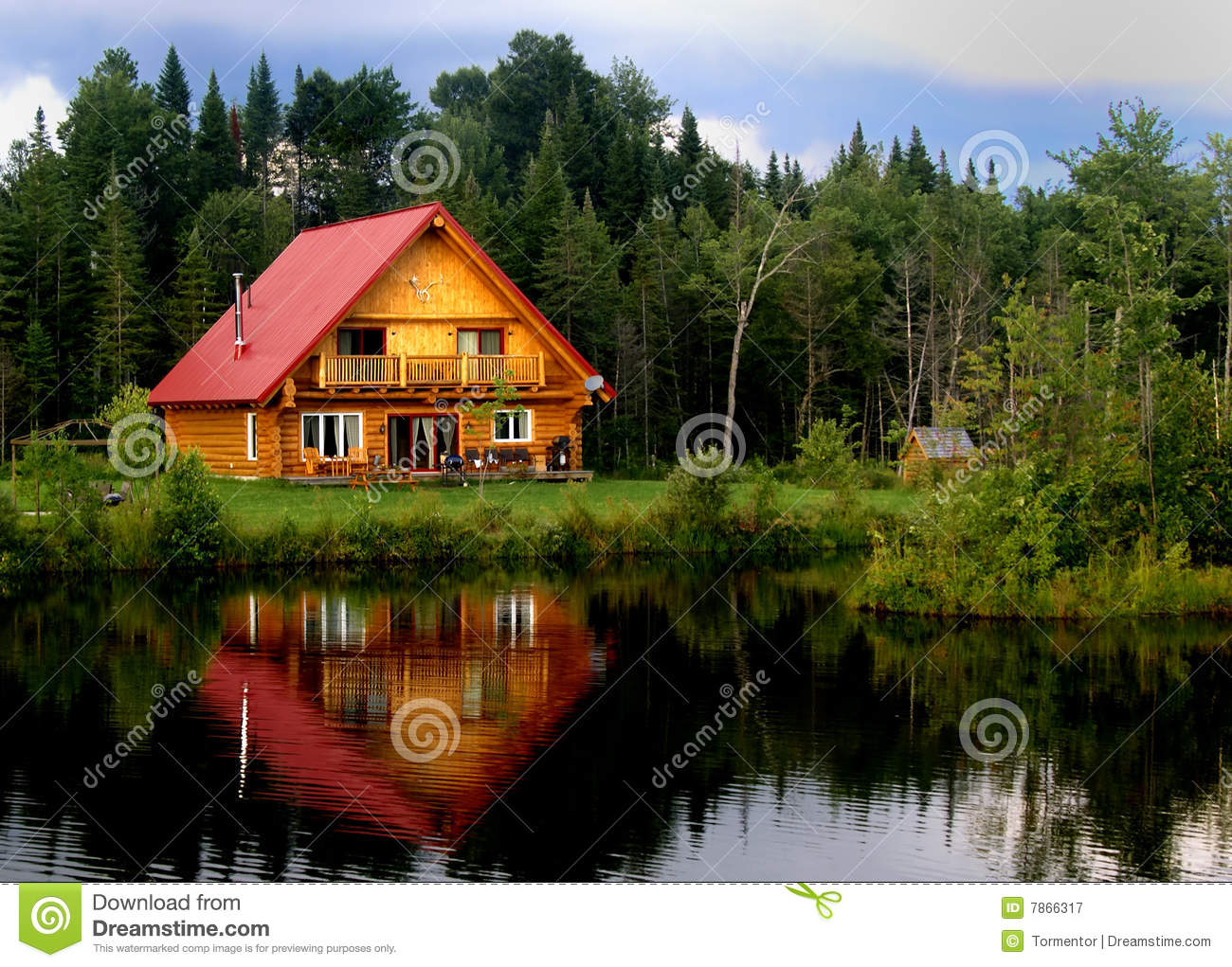 Log Cabin A Lake stock image Image of green summer