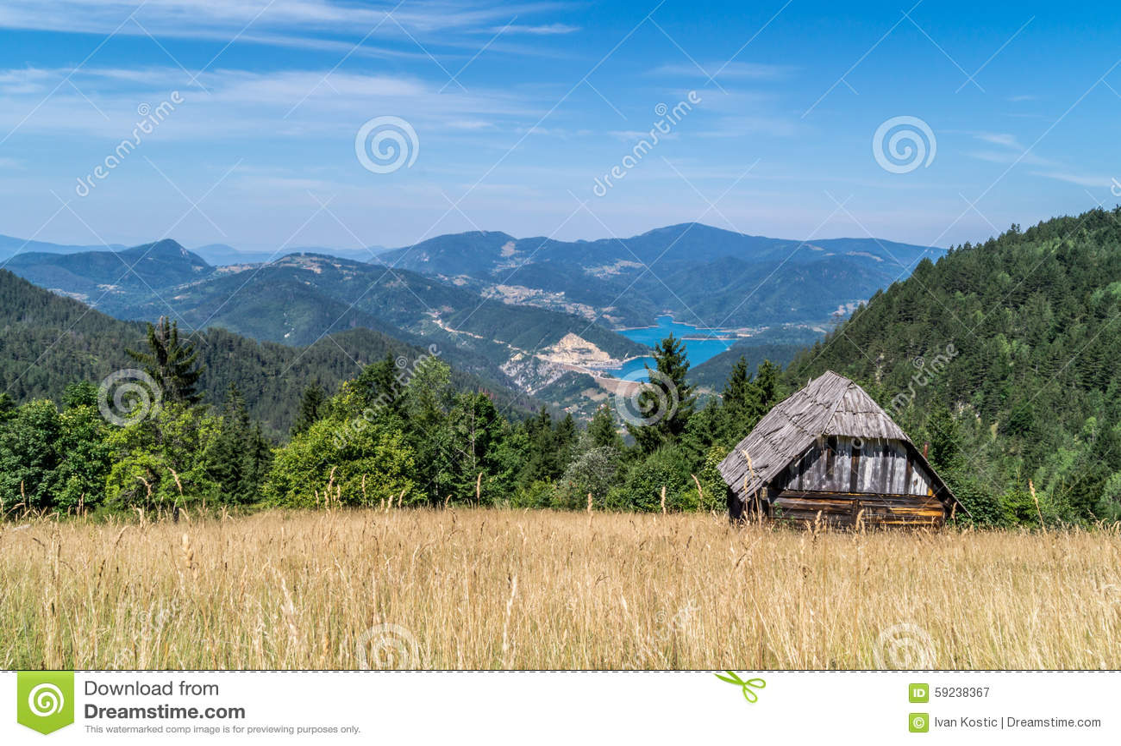 Log Cabin On Landscape Stock Photo Image 59238367