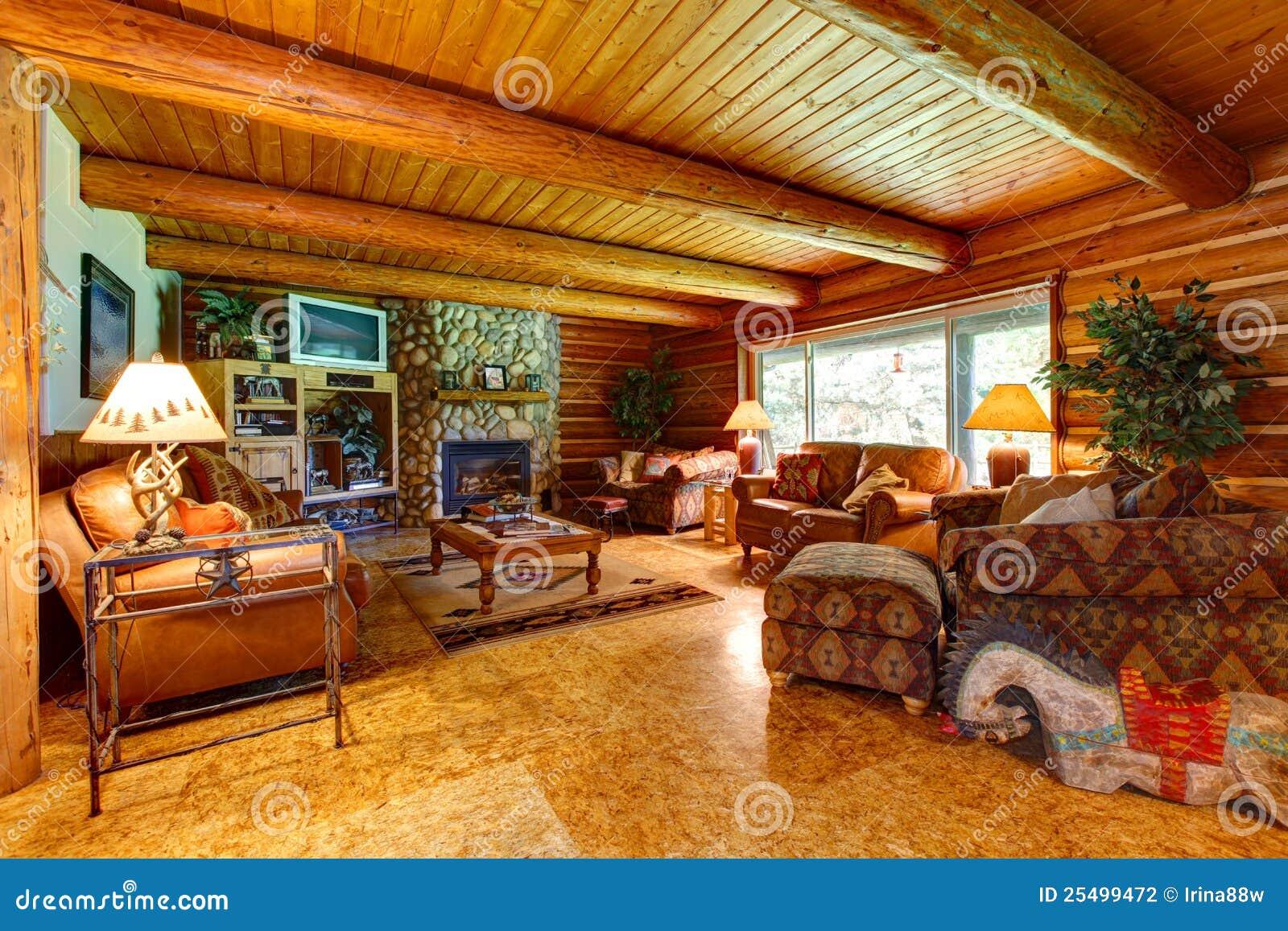 log cabin living room interior