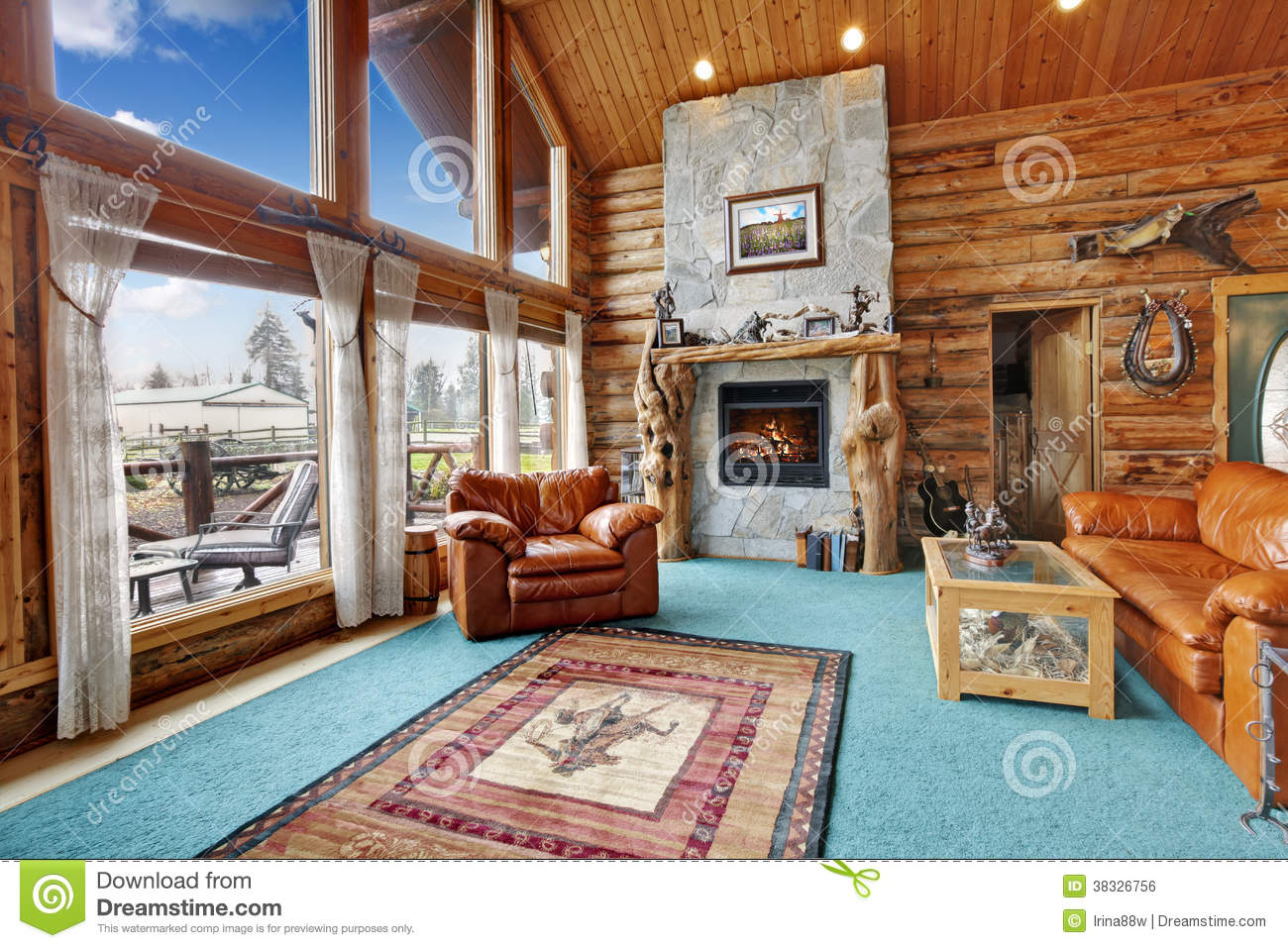 log cabin living room royalty free stock image - Log Cabin Living Room