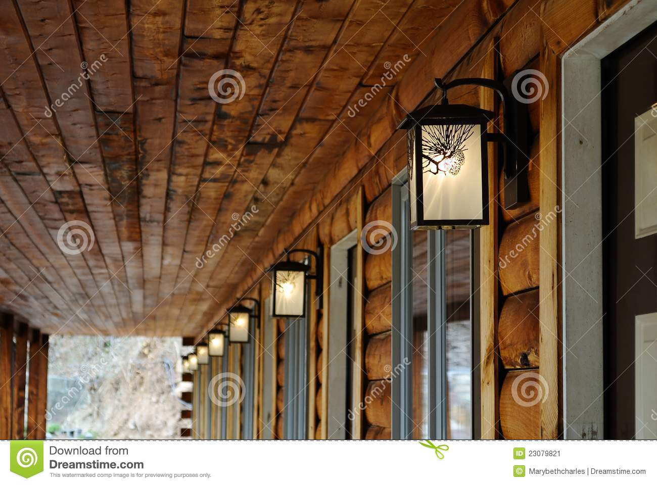 Log cabin motel light stock image image of glow objects for Log cabin chandeliers