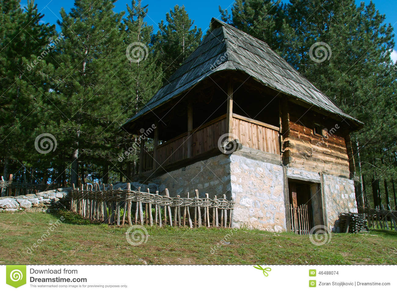 Log cabin stock photo image 46488074 for Old style log homes