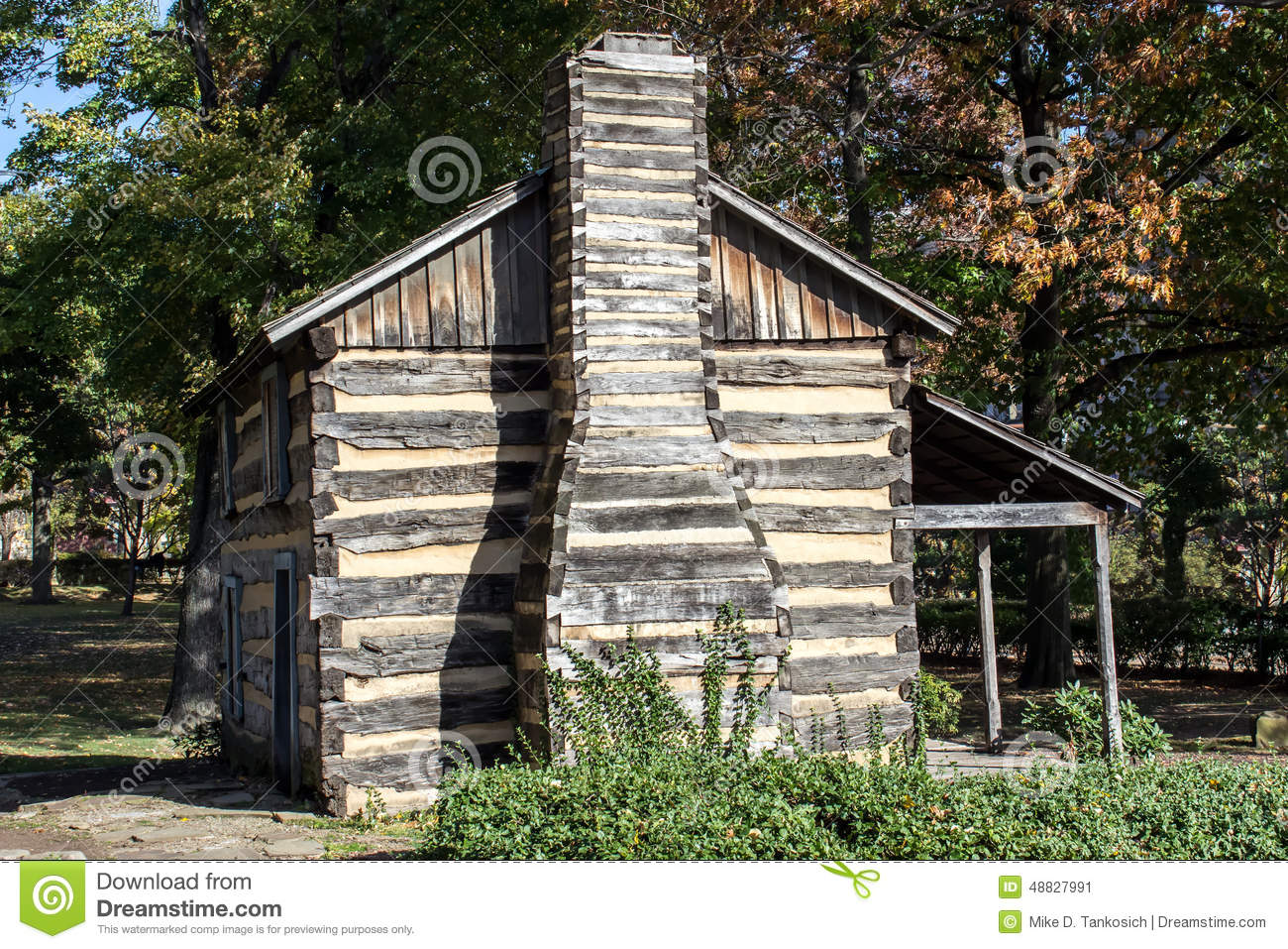 Superb img of Old time Log Cabin Building with a Chimney and Front Porch Located in  with #2F6D9C color and 1300x957 pixels
