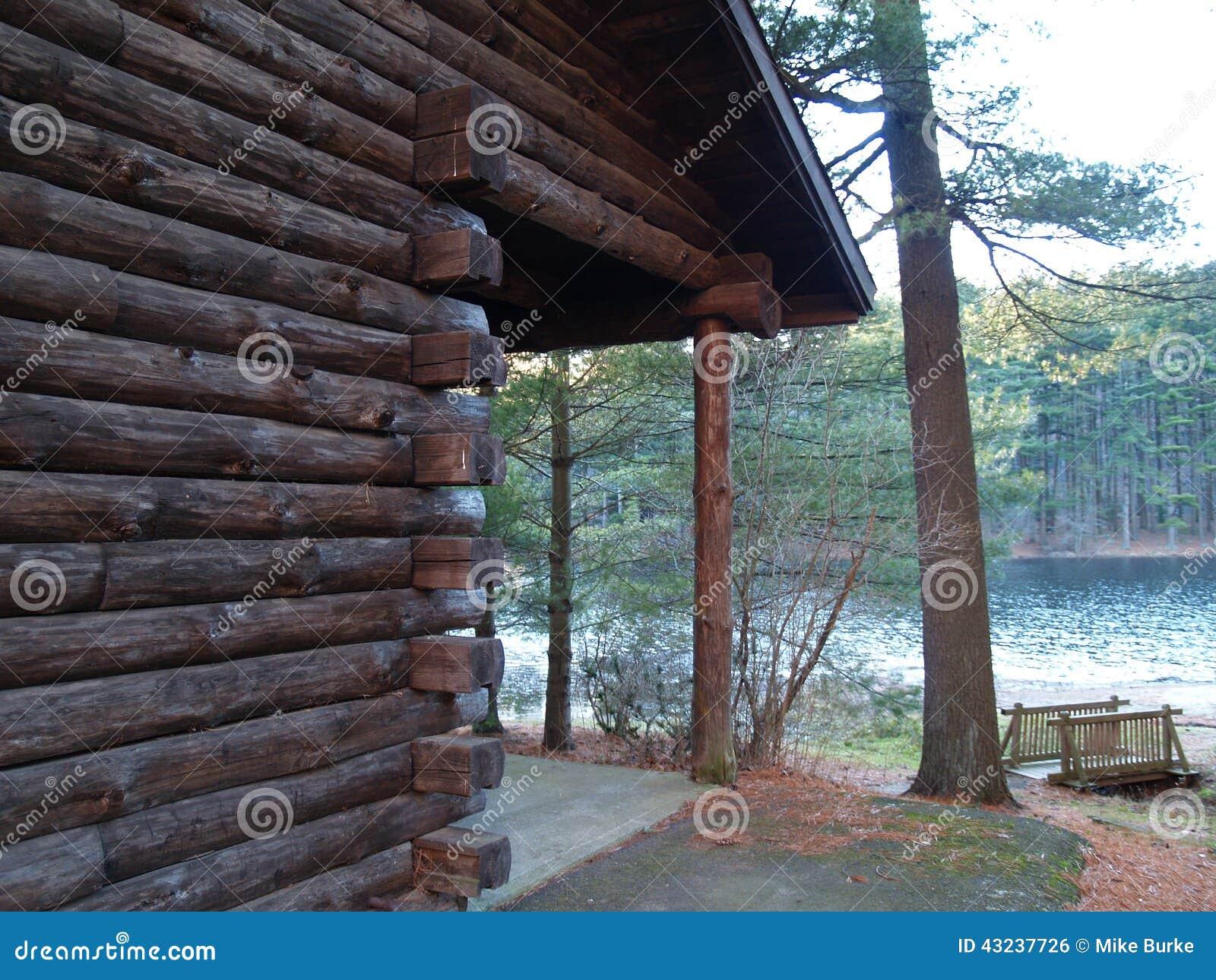 Log Cabin Overlooking Lake Stock Photo Image Of Nature