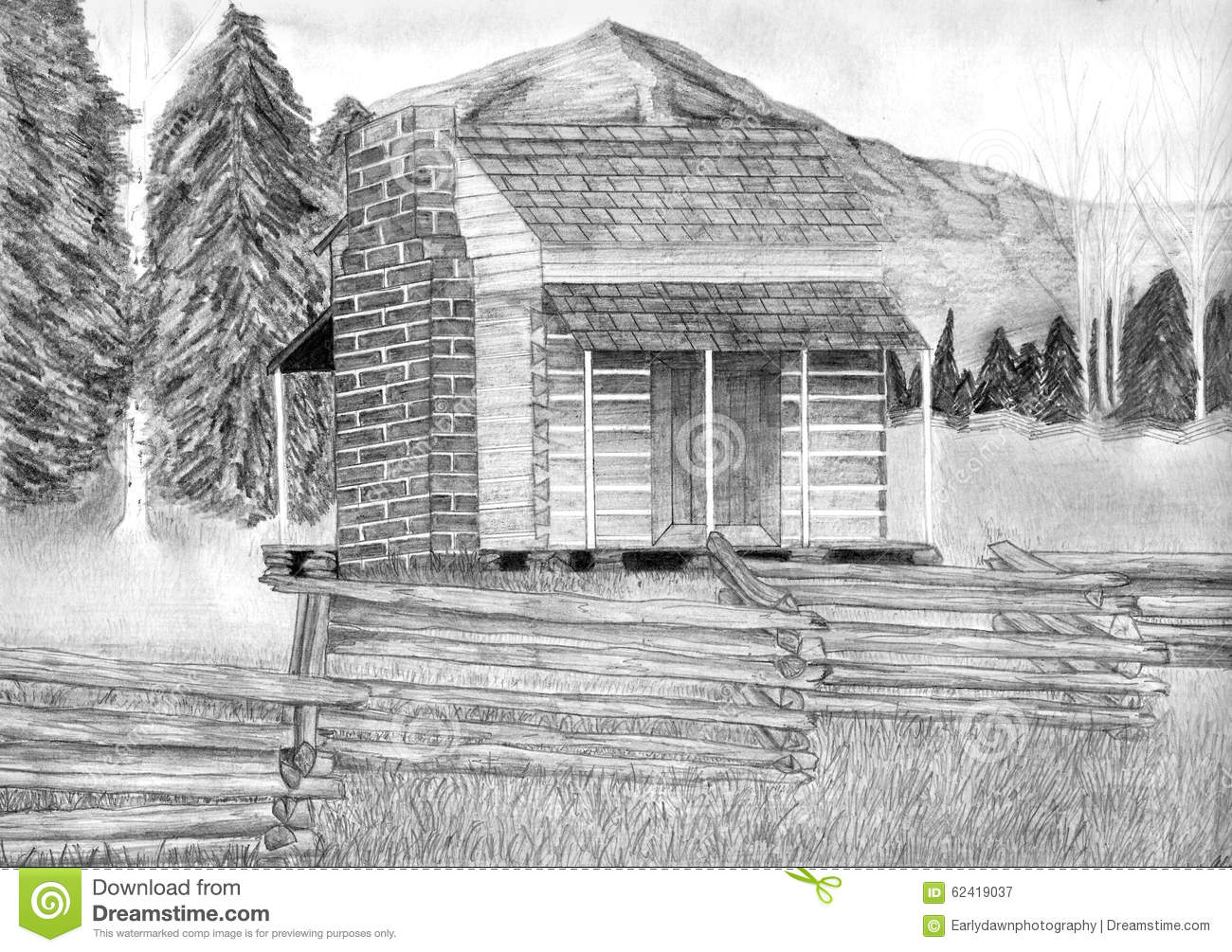 Pencil Drawing Of Log Cabin Joy Studio Design Gallery