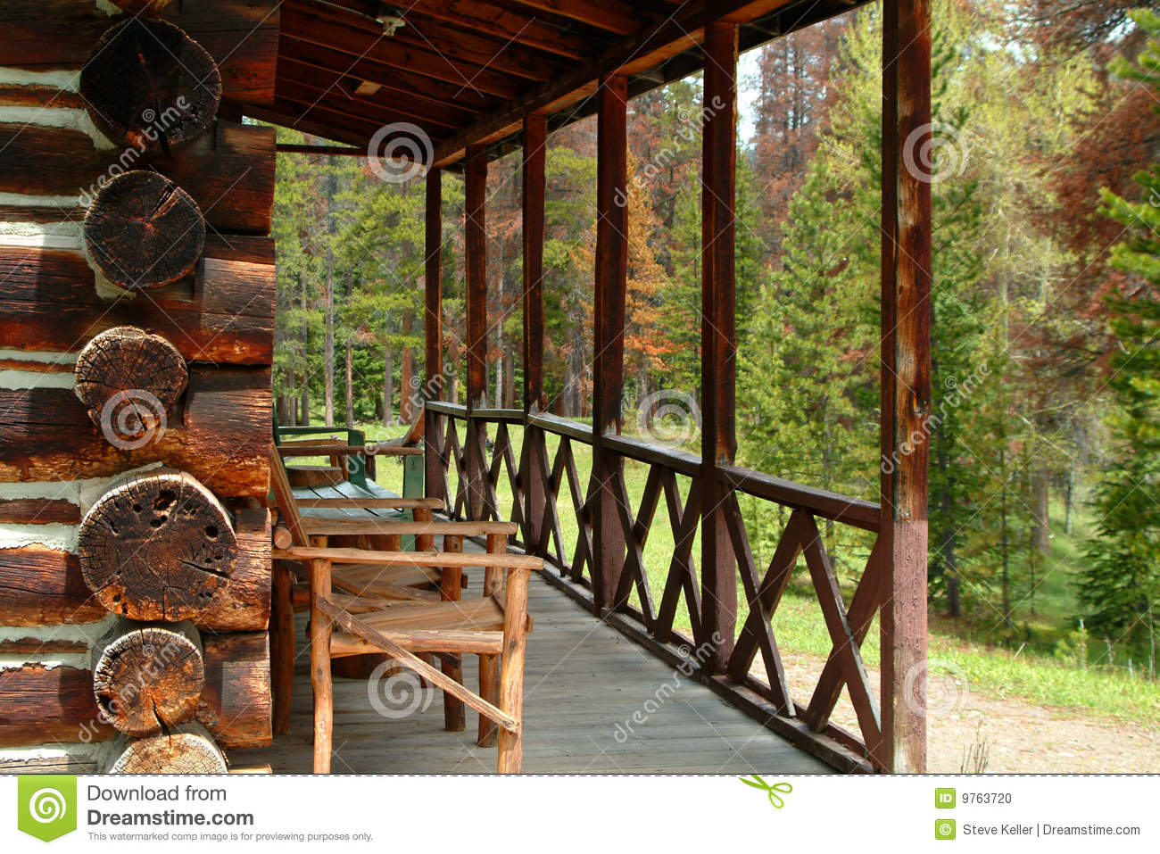 Log Cabin Porch Stock Photo Image Of Rustic Forested