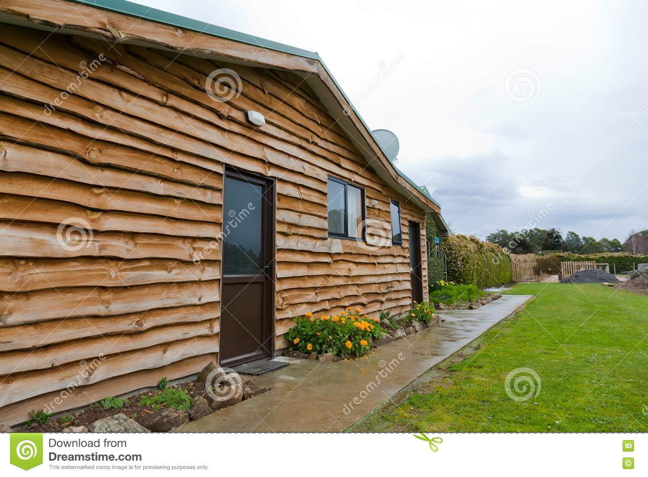 Log Cabin In Rural Area Wide Angle View Stock Image