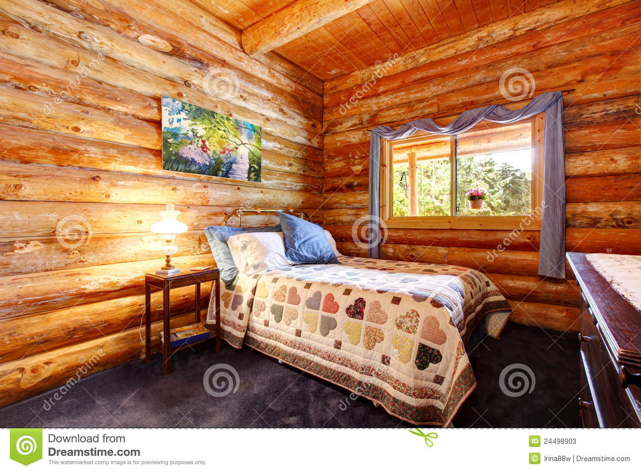 Log Cabin Bedroom Log Cabin Rustic Bedroom With Blue Curtains Stock Photos Image