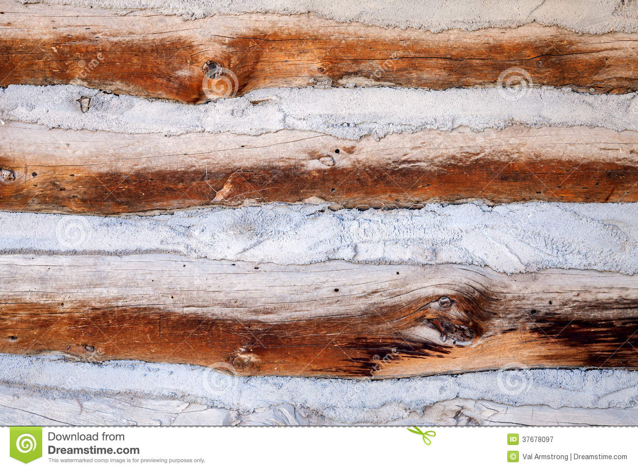 Log Cabin Sealed With Mortar Detail Royalty Free Stock