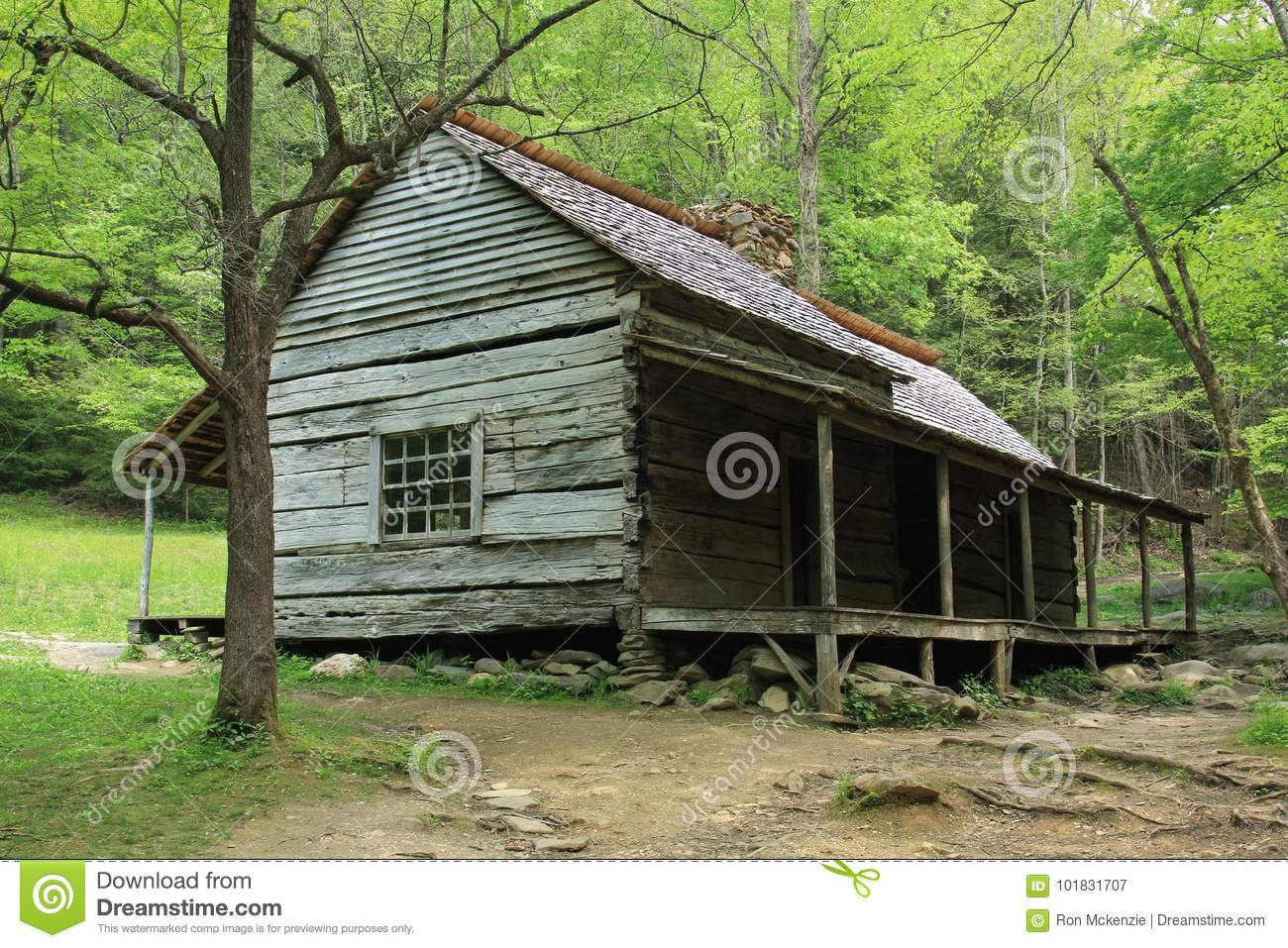 Log Cabin In The Smokies Stock Image Image Of Trees 101831707