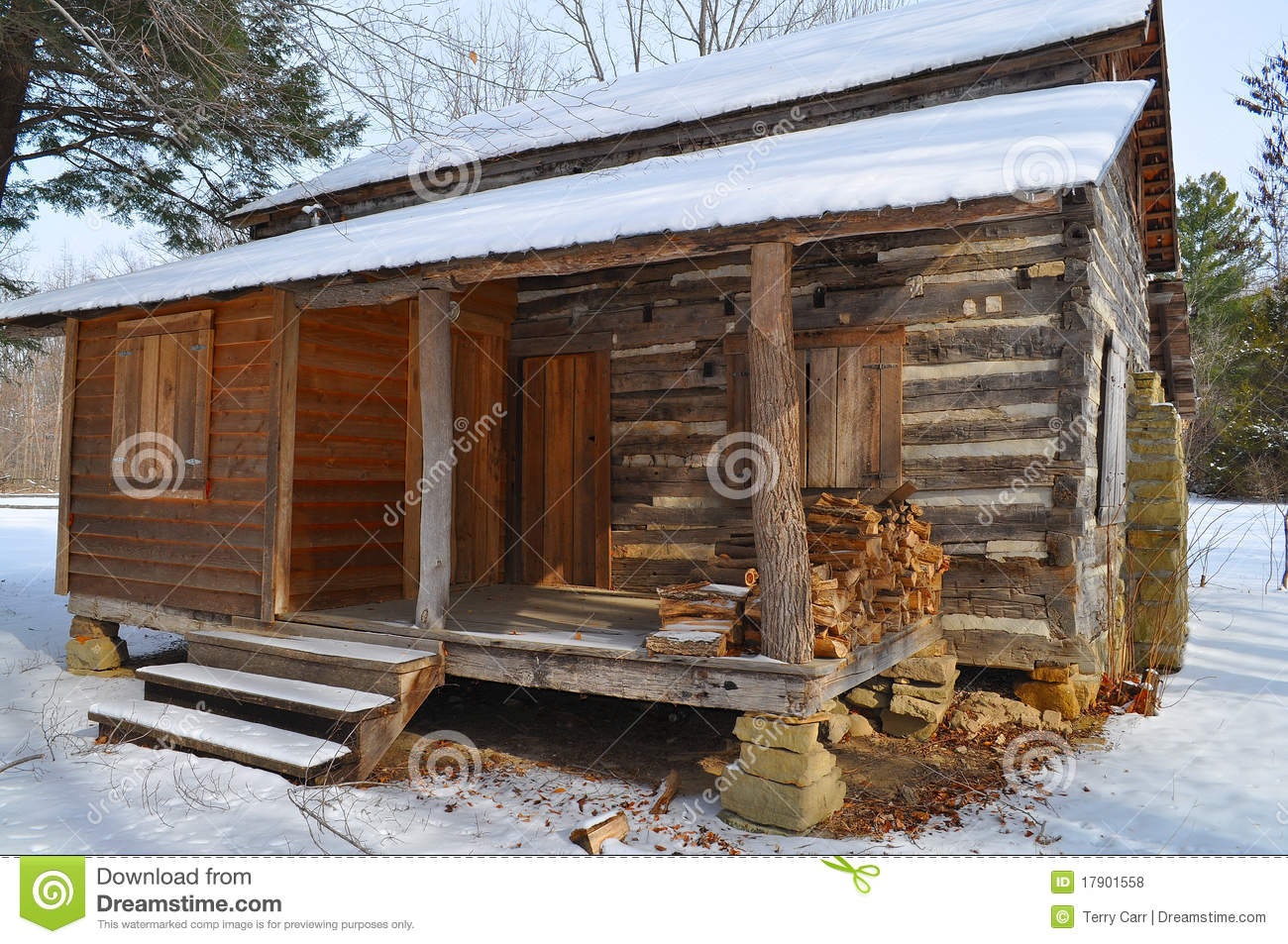 Log Cabin In Snow Royalty Free Stock Photos Image 17901558