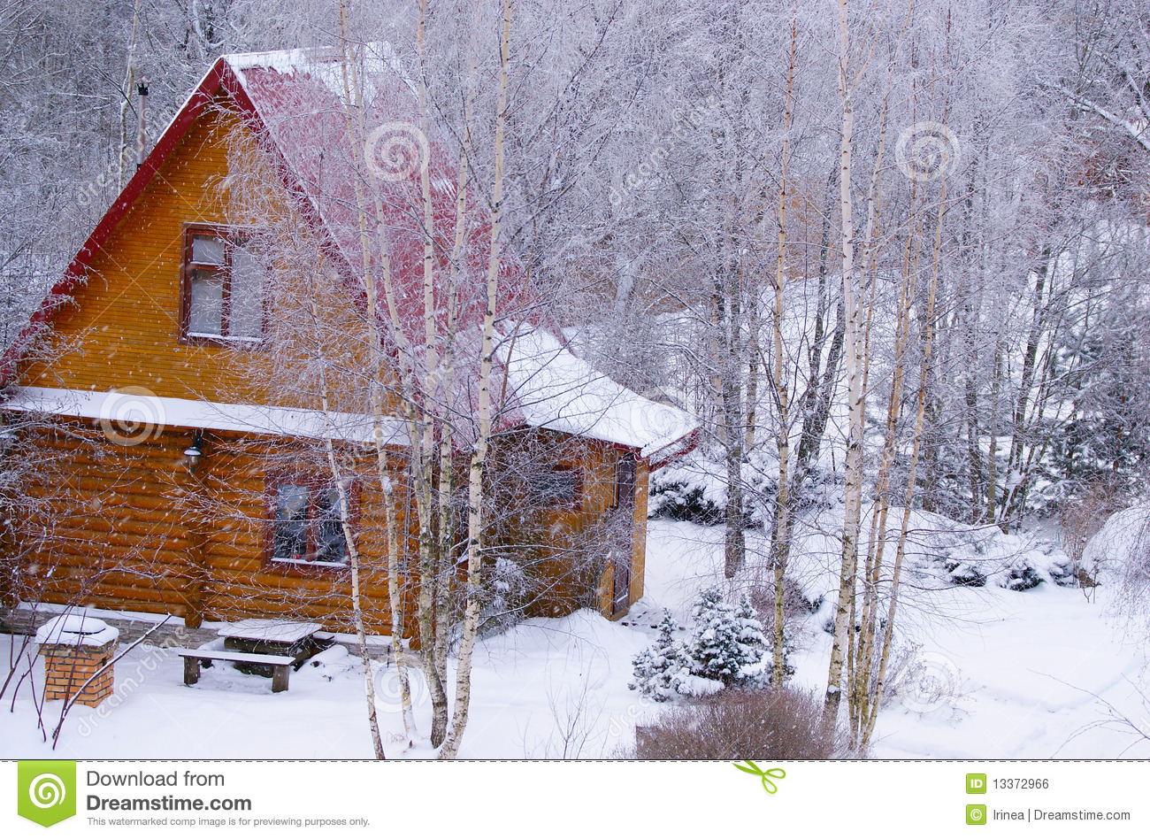 Snowy Log Cabin ~ Log cabin in snowy forest stock photo image of residence
