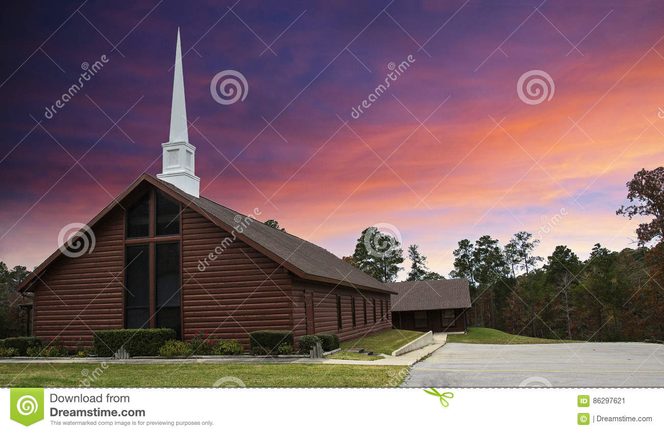 Download Log Cabin Style Country Church At Sunset Stock Image