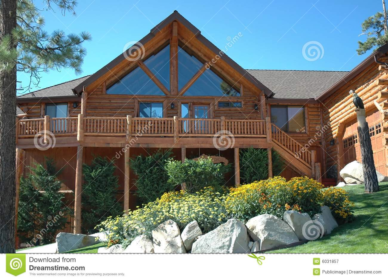 Log cabin style home stock image image of fall lodge for Log cabin style house