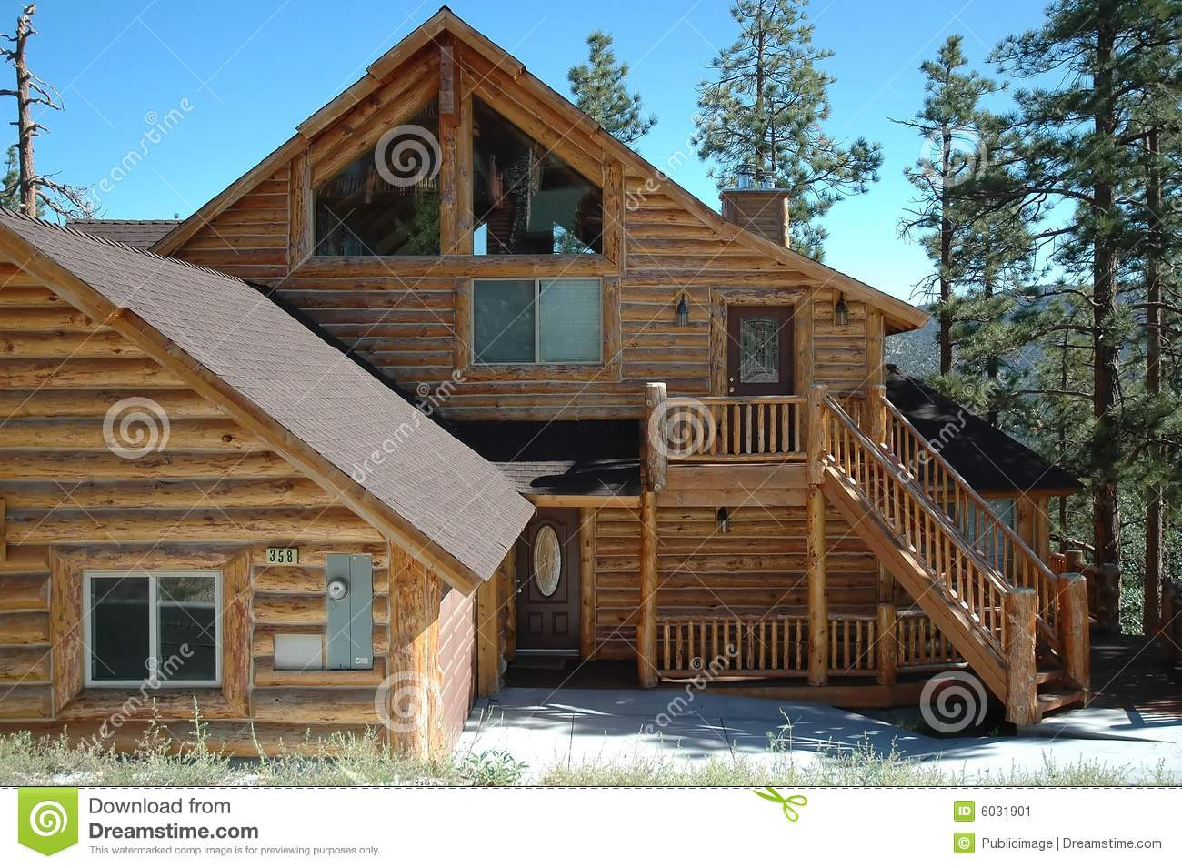 Log cabin style home stock image image 6031901 for Log cabin style homes
