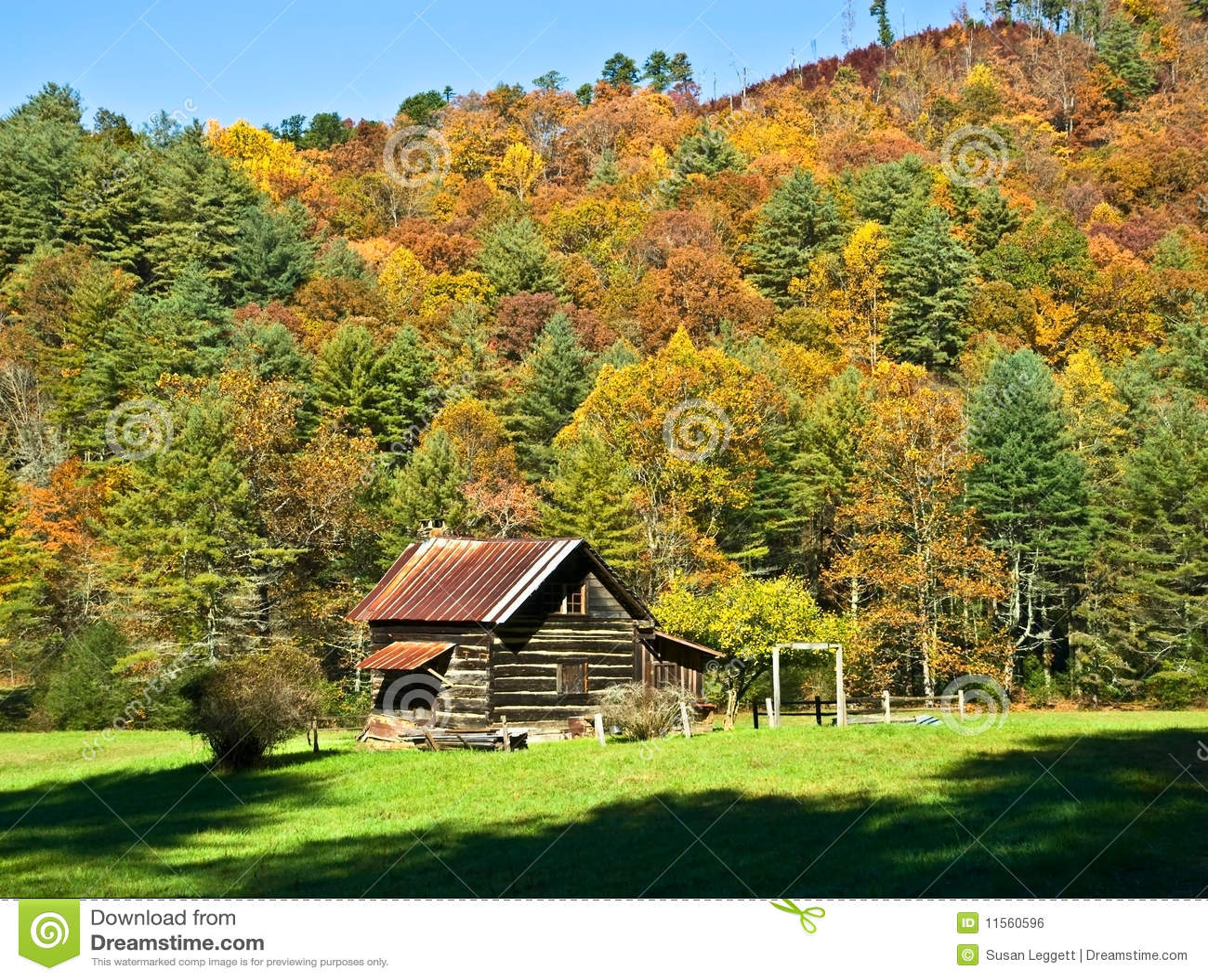 Autumn Woods Nursing Home Log Cabin Royalty Free Stock