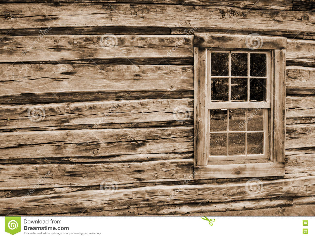 Superb img of The outside wall and window of an old log cabin located on the Blue  with #86AA21 color and 1300x984 pixels