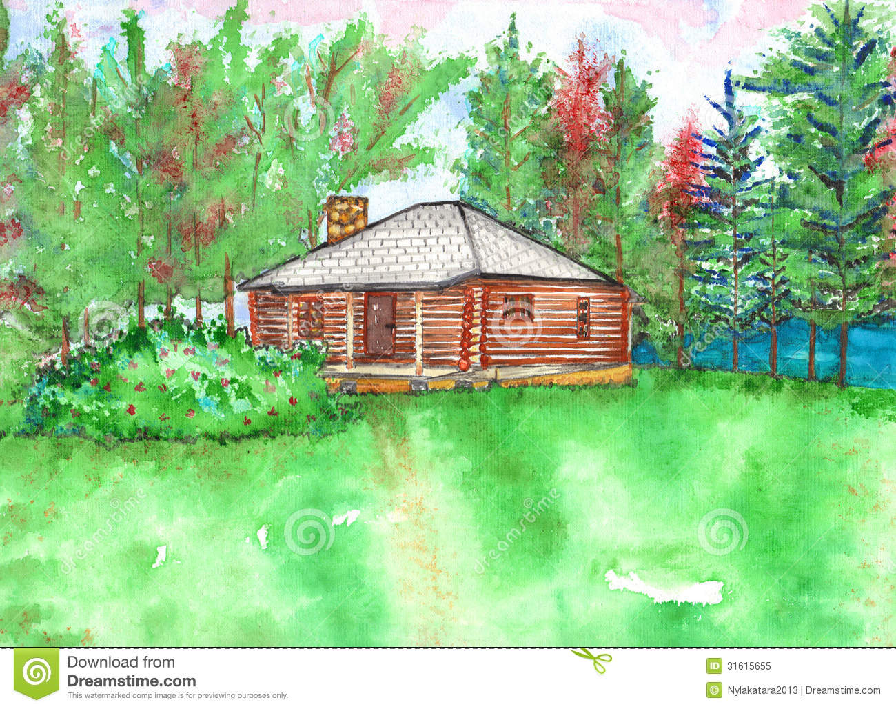 Log cabin in the woods by a lake - Cabin Lake Log Trees Watercolor Woods