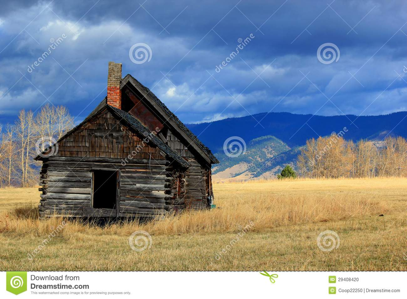 Log Cabin In Western Montana Meadow Stock Photo Image