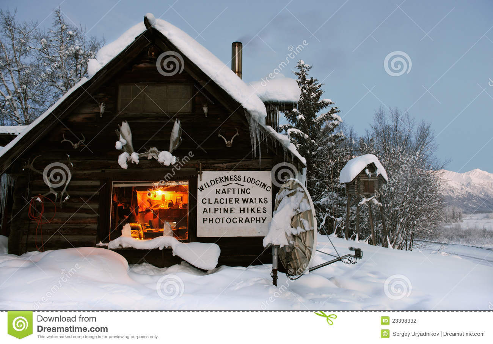 Stock Photography Log Cabin Wilds Alaska Usa Image23398332 on Small Rustic Cabin Home Plans