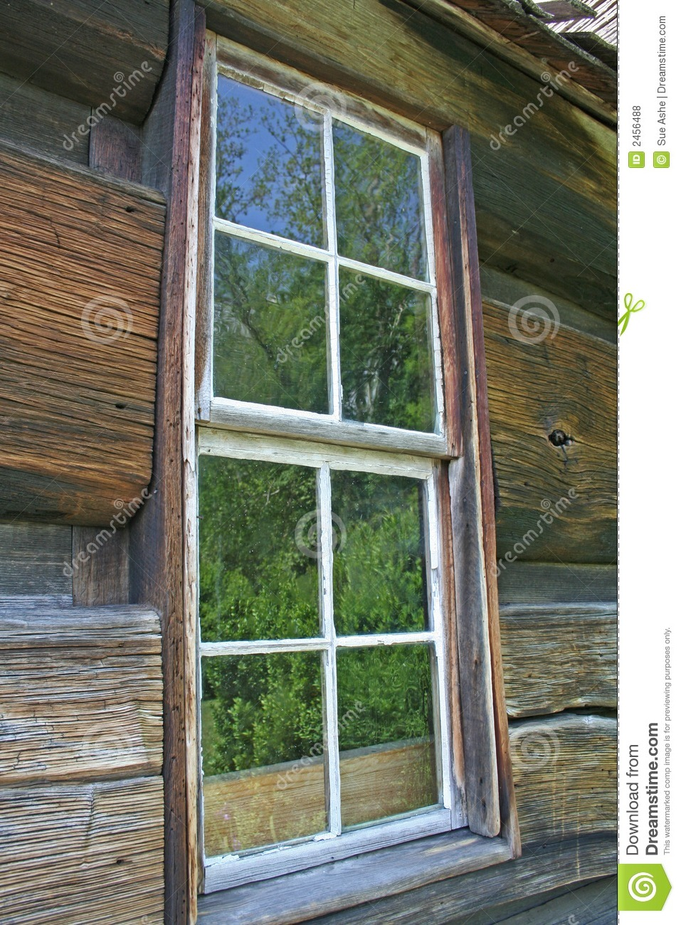 Log cabin window stock photo image of exterior shelter for Log home windows