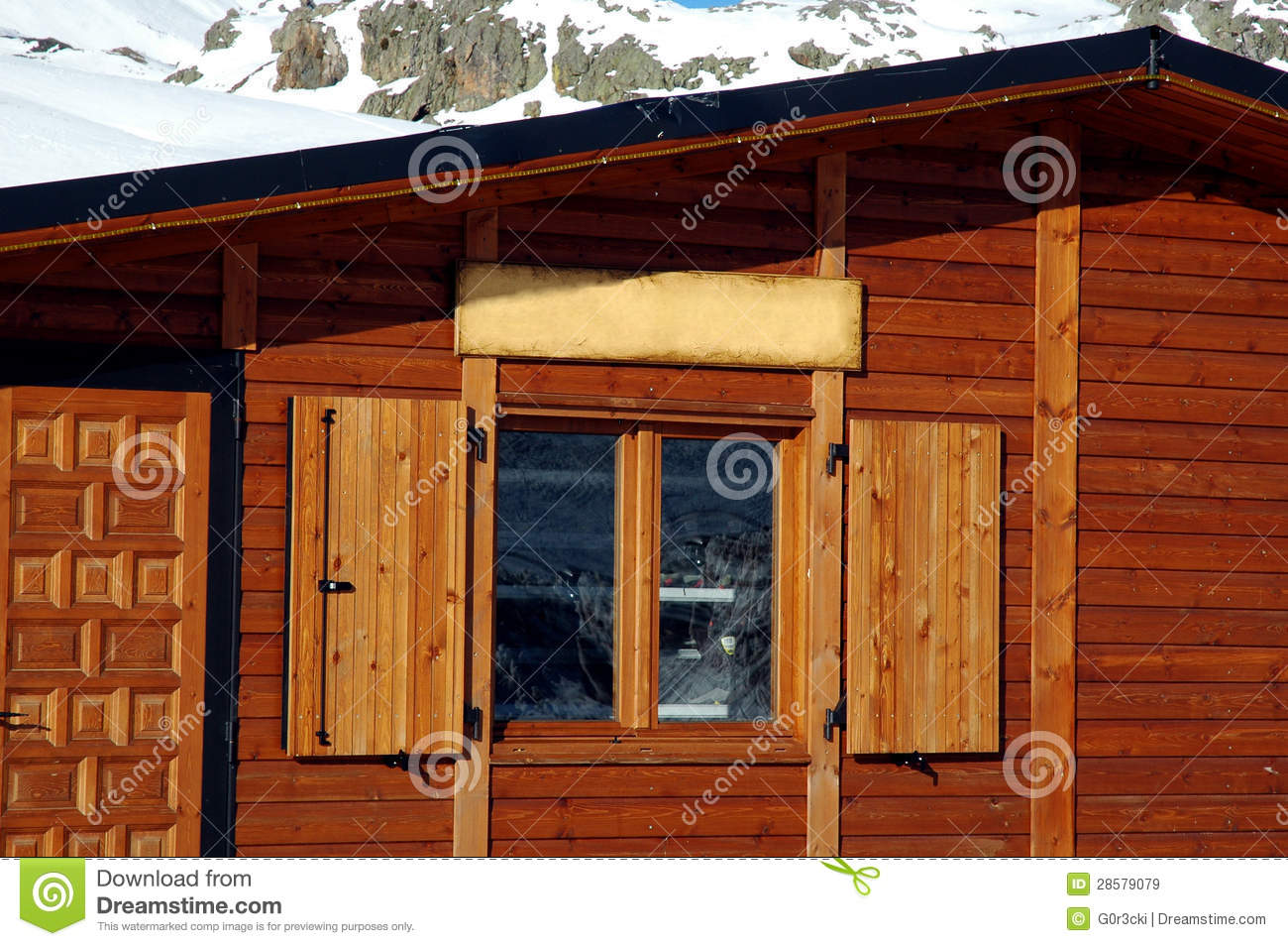 Log Cabin Window Snowy Mountains Background Royalty Free
