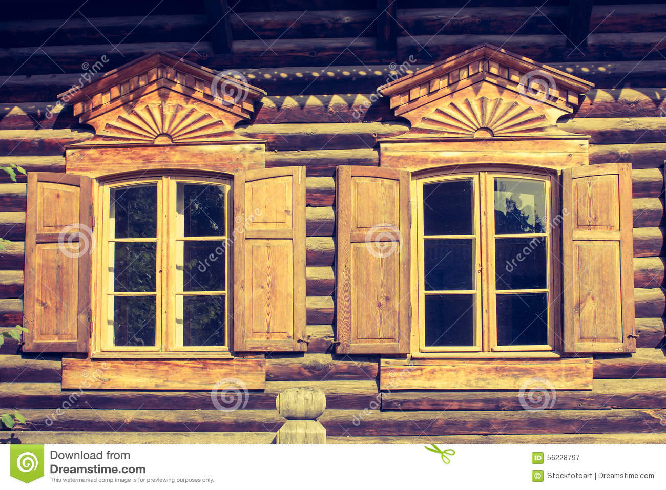 Log Cabin Window Stock Photo Image 56228797