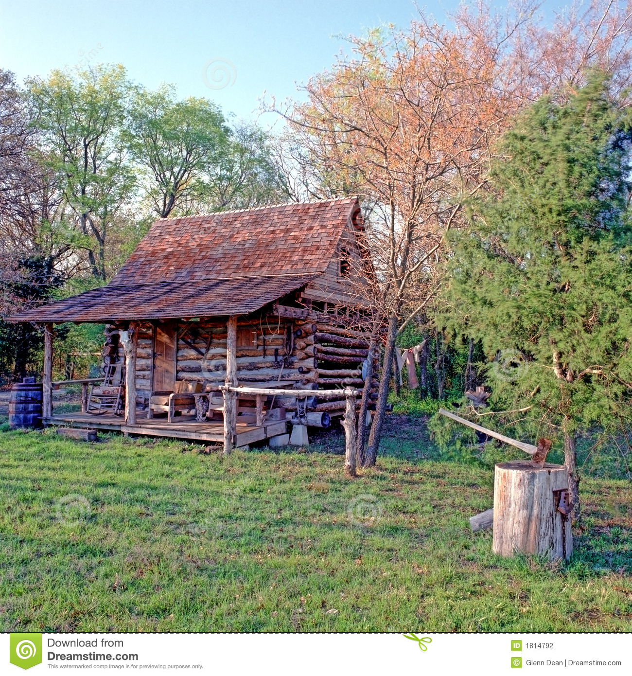 Log Cabin In Woods With Ax Stock Photography Image 1814792