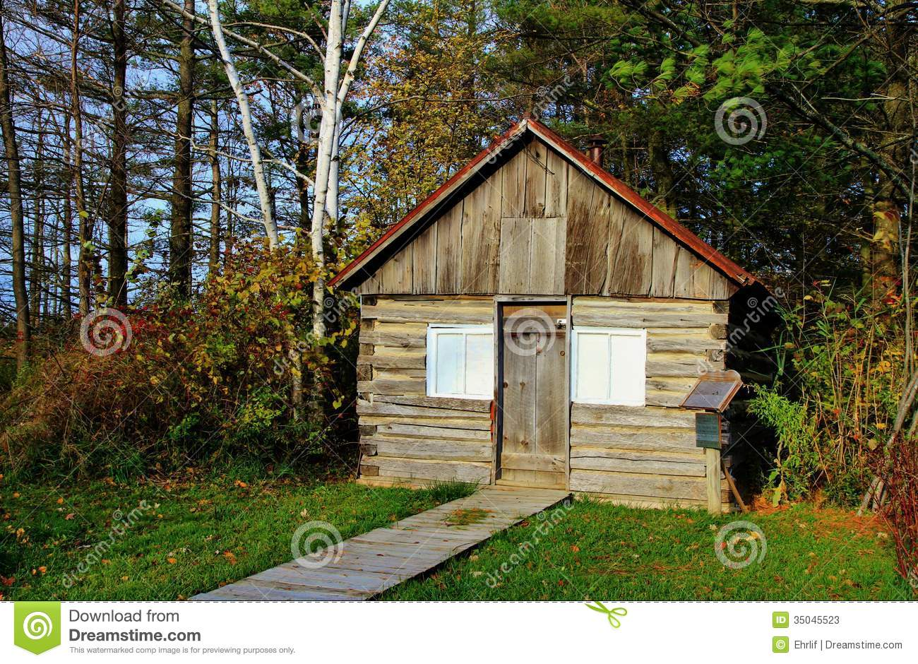 Log Cabin In the Woods stock image. Image of america ...