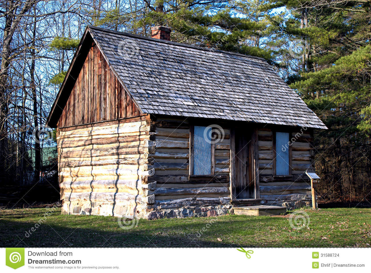 Log Cabin in the Woods stock photo  Image of lifestyle
