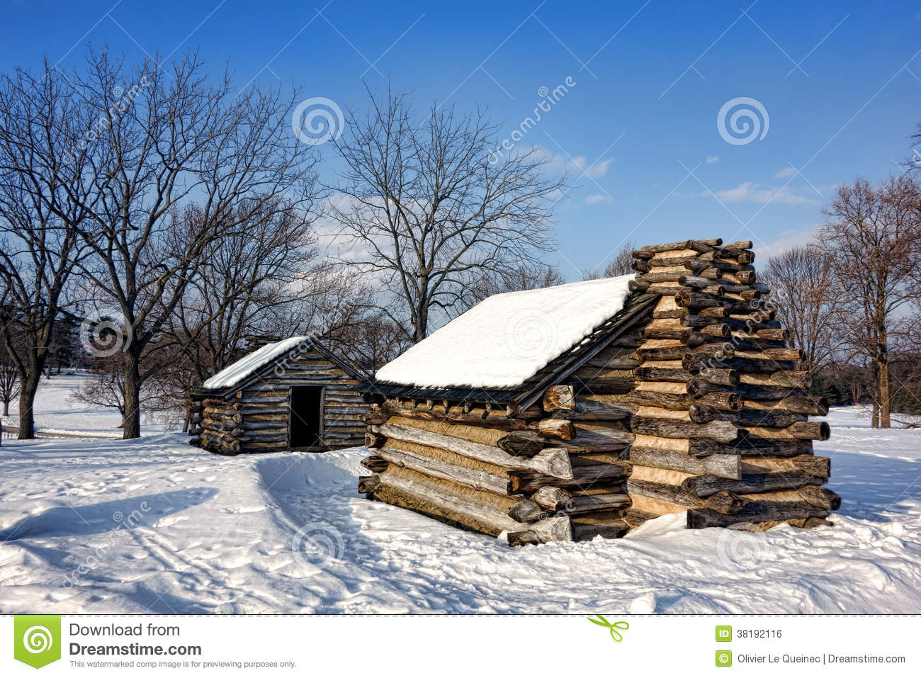 Log cabins in snow at valley forge national park royalty - Cabanas en la nieve ...