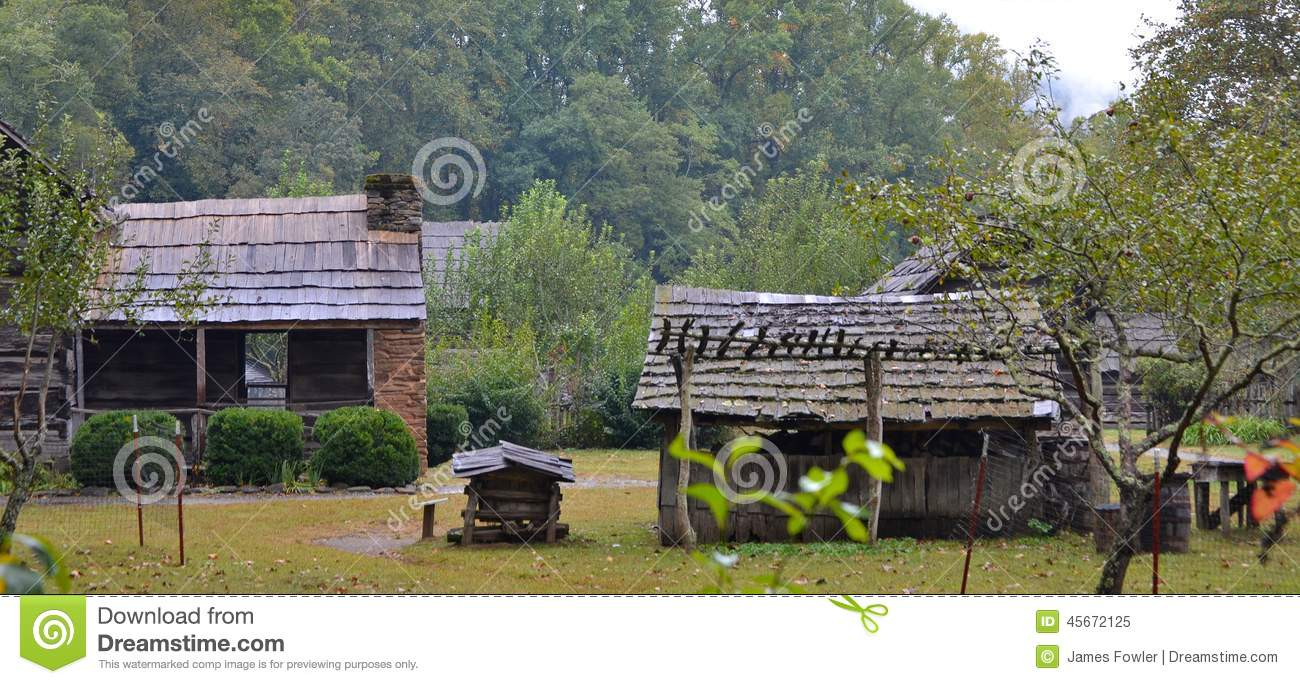 Log cabins in the valley stock image image of mountain for Farm house construction